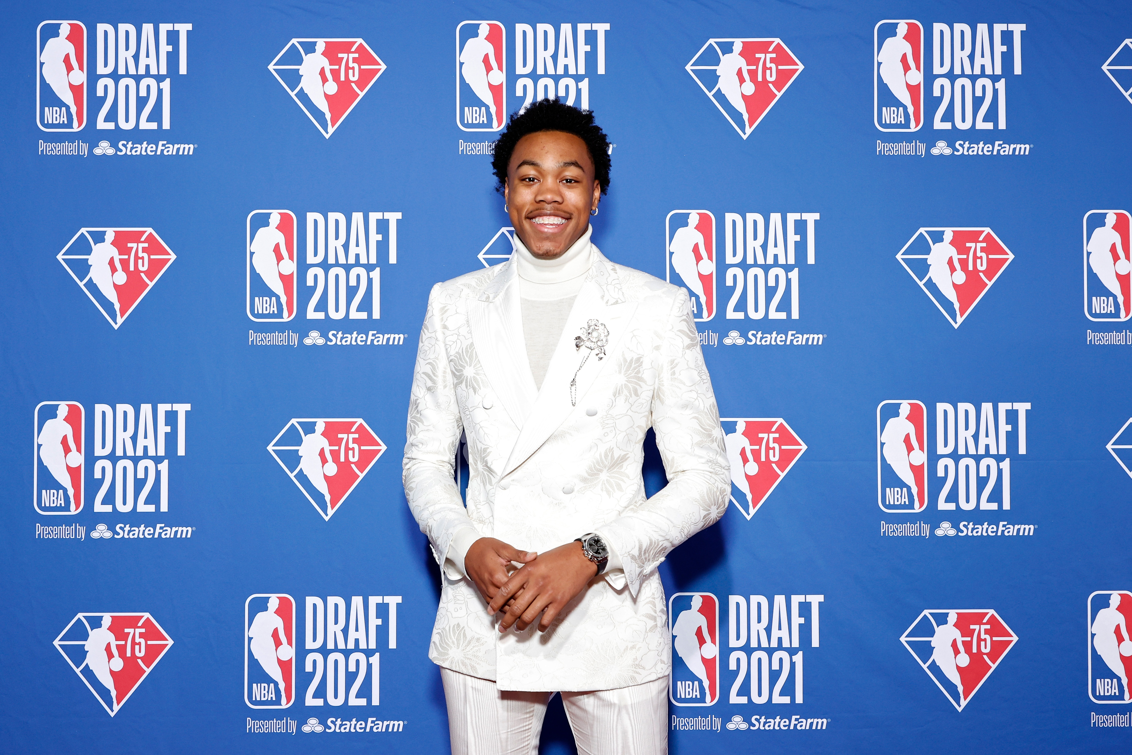 Scottie Barnes poses for photos on the red carpet during the 2021 NBA Draft at the Barclays Center on July 29, 2021 in New York City.