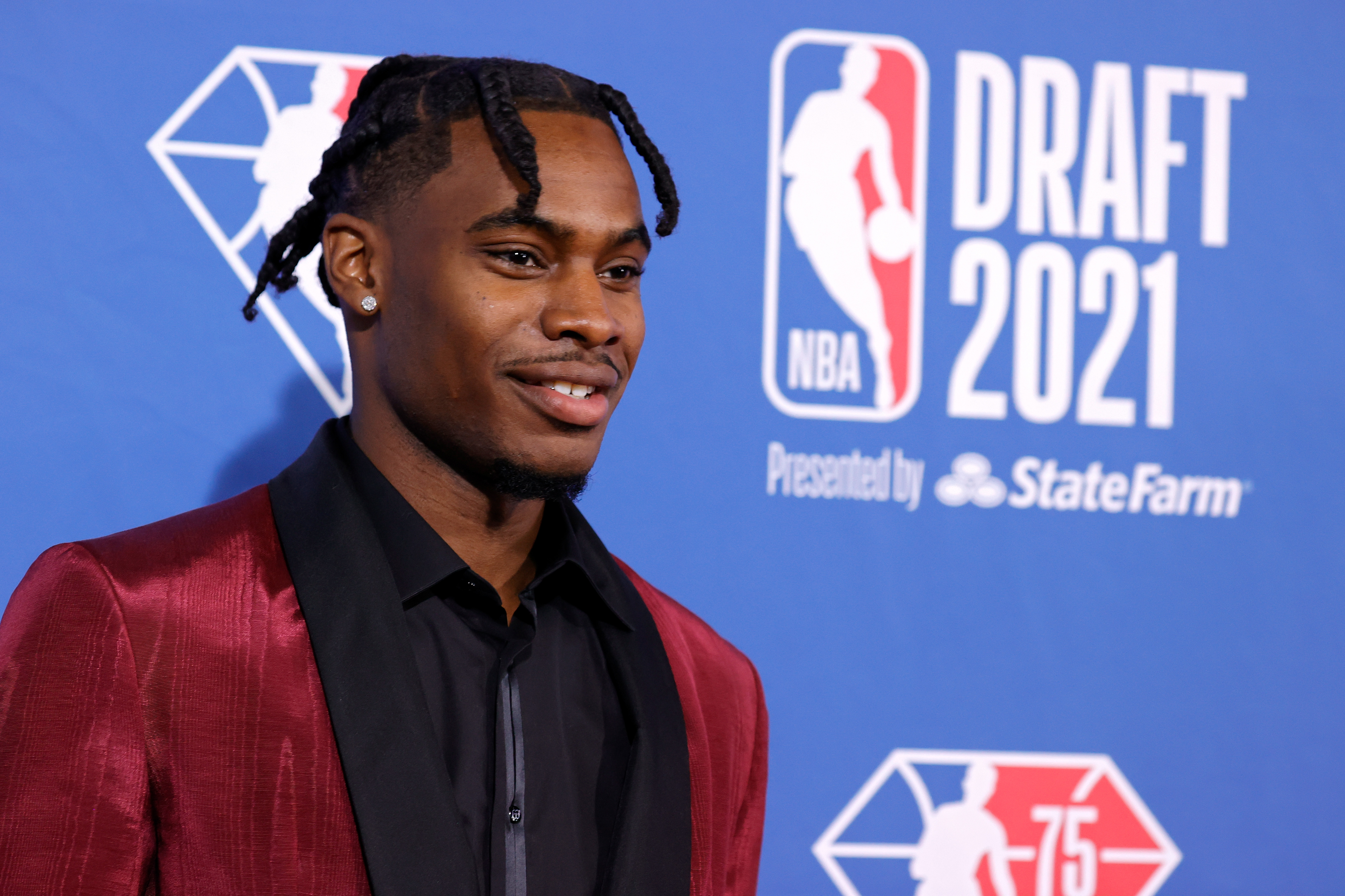 Davion Mitchell poses for photos on the red carpet during the 2021 NBA Draft at the Barclays Center on July 29, 2021 in New York City.