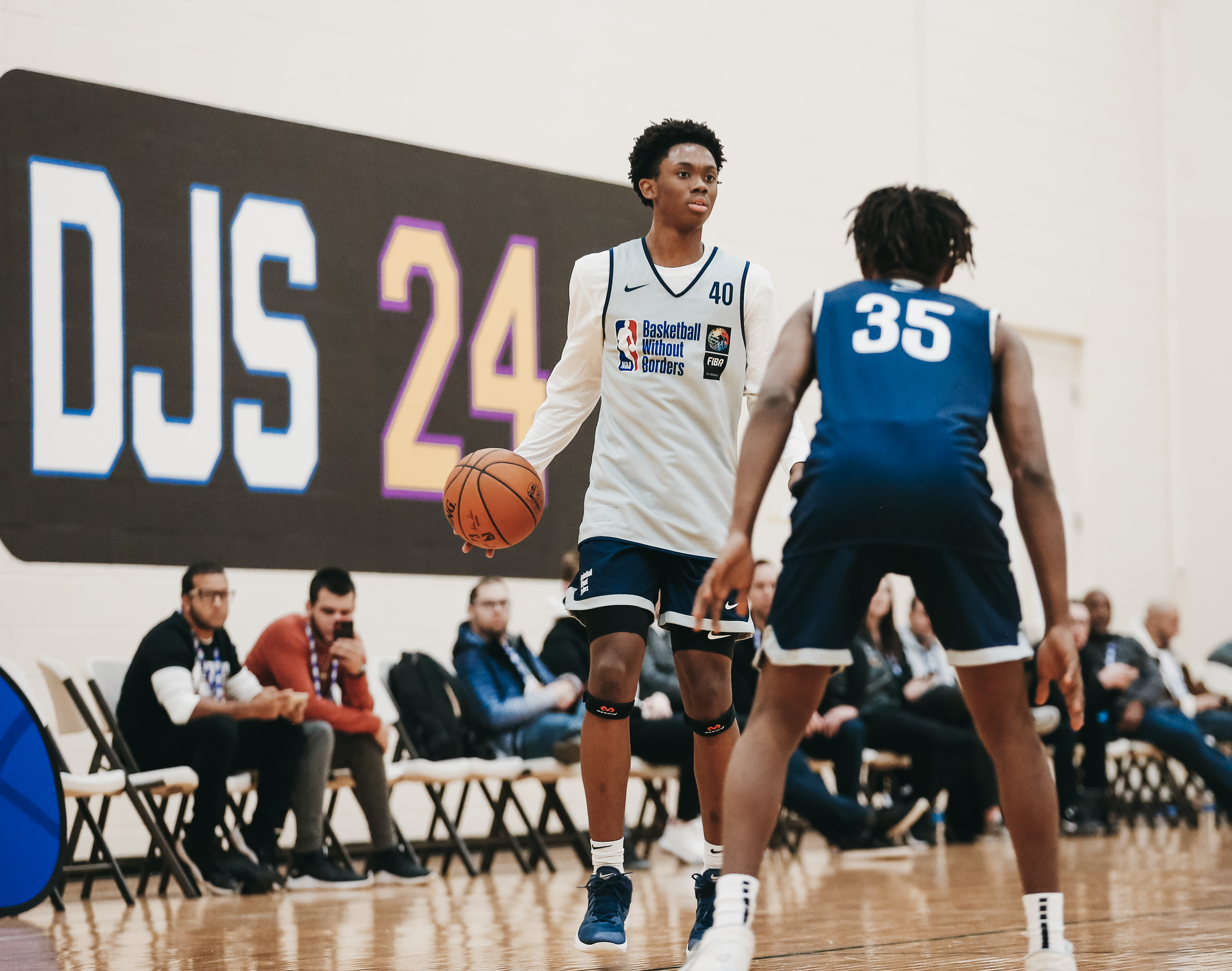 Josh Primo #40 dribbles the ball during the BWB Camp as part of 2020 NBA All Star Weekend on February 17, 2020 at Quest Multisport in Chicago, Illinois.