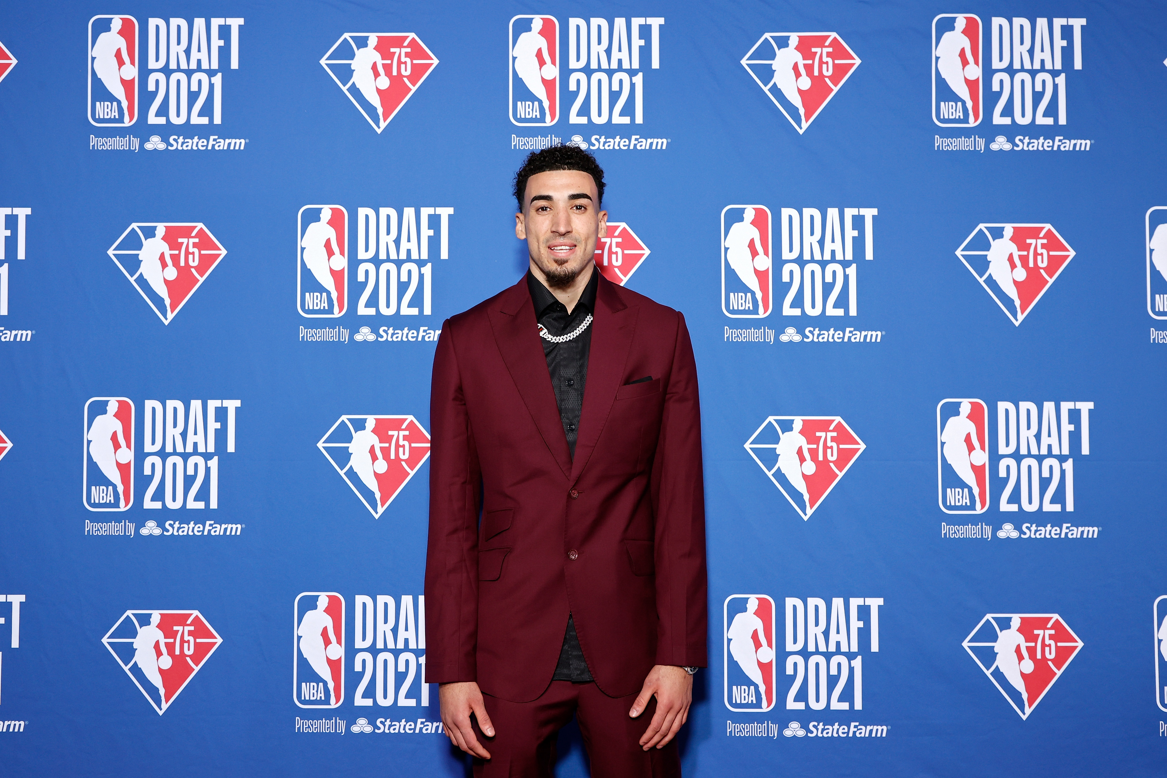 Chris Duarte poses for photos on the red carpet during the 2021 NBA Draft at the Barclays Center on July 29, 2021 in New York City.