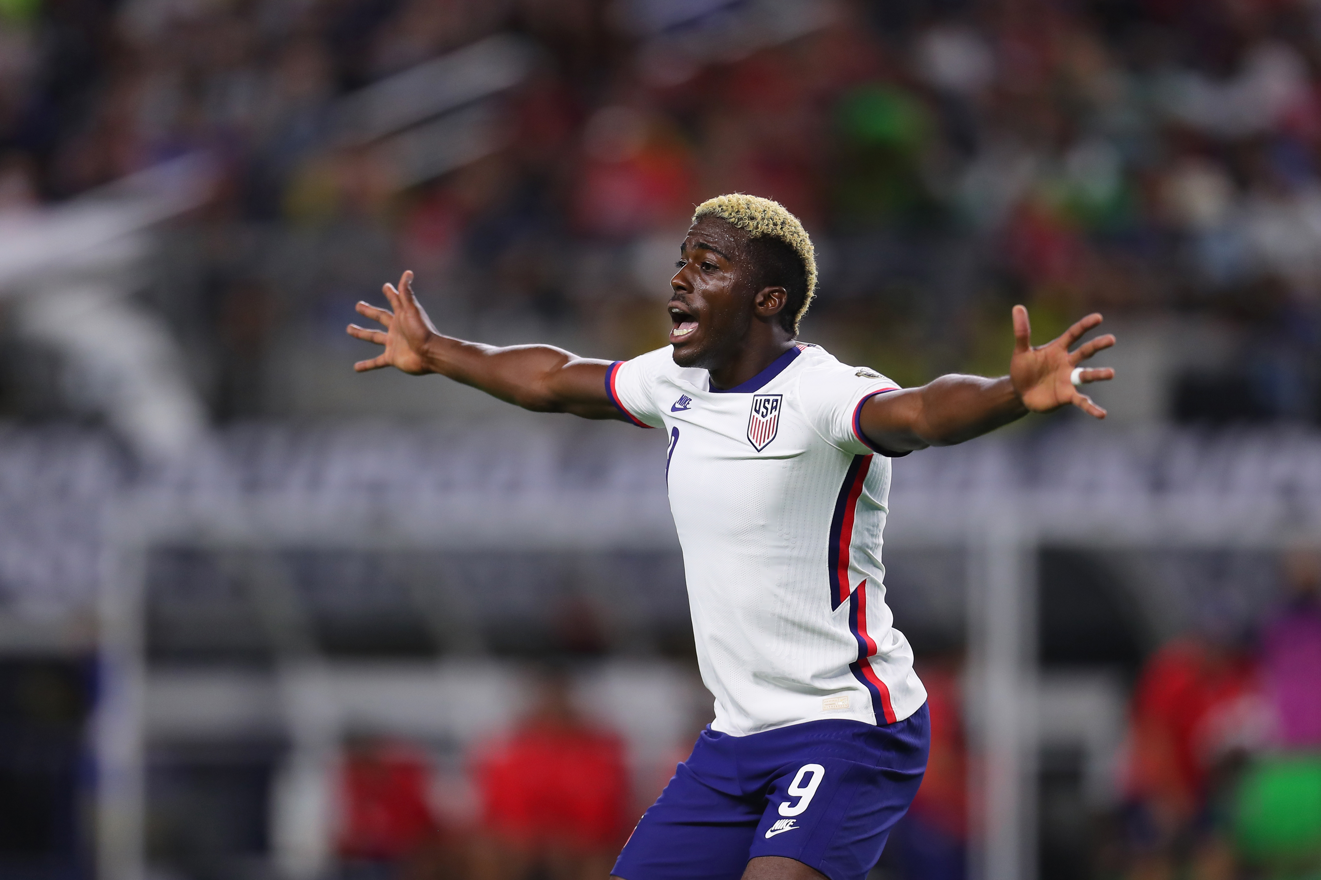 Gyasi Zardes #9 of United States reacts after missing a chance to score during to the a quarterfinal match between United States and Jamaica as part of 2021 CONCACAF Gold Cup at AT&T Stadium on July 25, 2021 in Arlington, Texas.