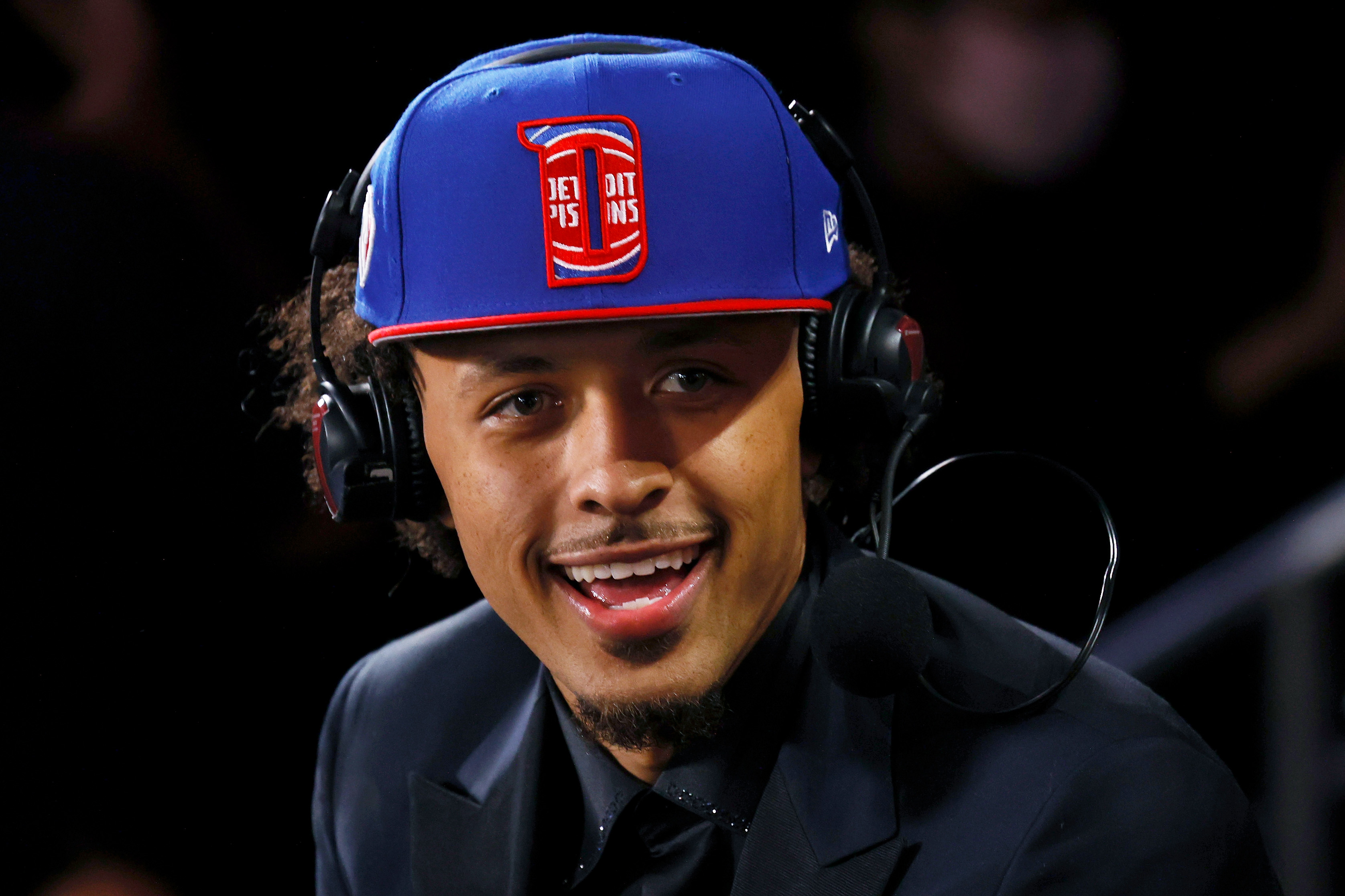 Cade Cunningham is interviewed after being drafted by the Detroit Pistons during the 2021 NBA Draft at the Barclays Center on July 29, 2021 in New York City.