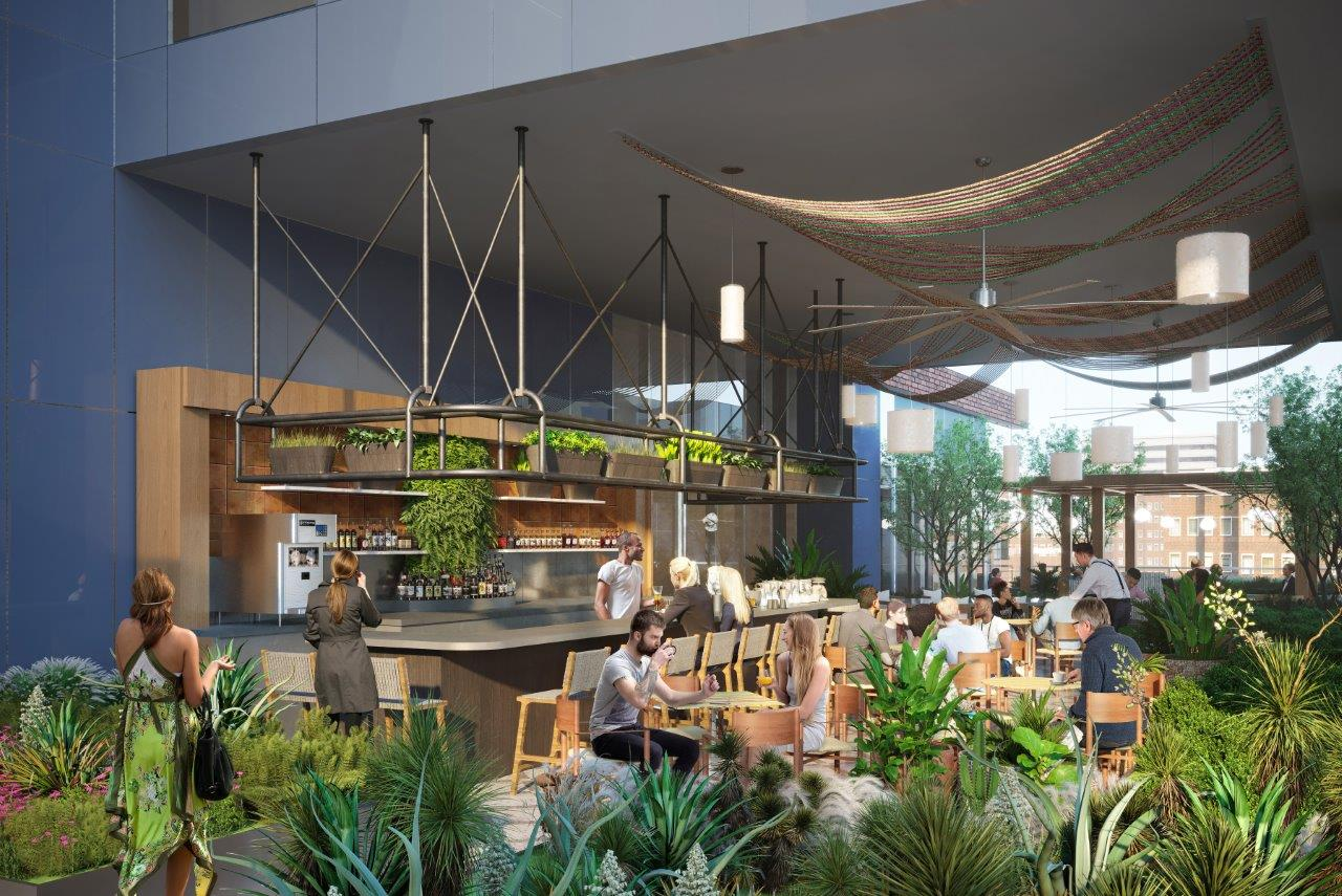 A rendering of an indoor/outdoor space with tons of plants, a bar, and a ceiling fan