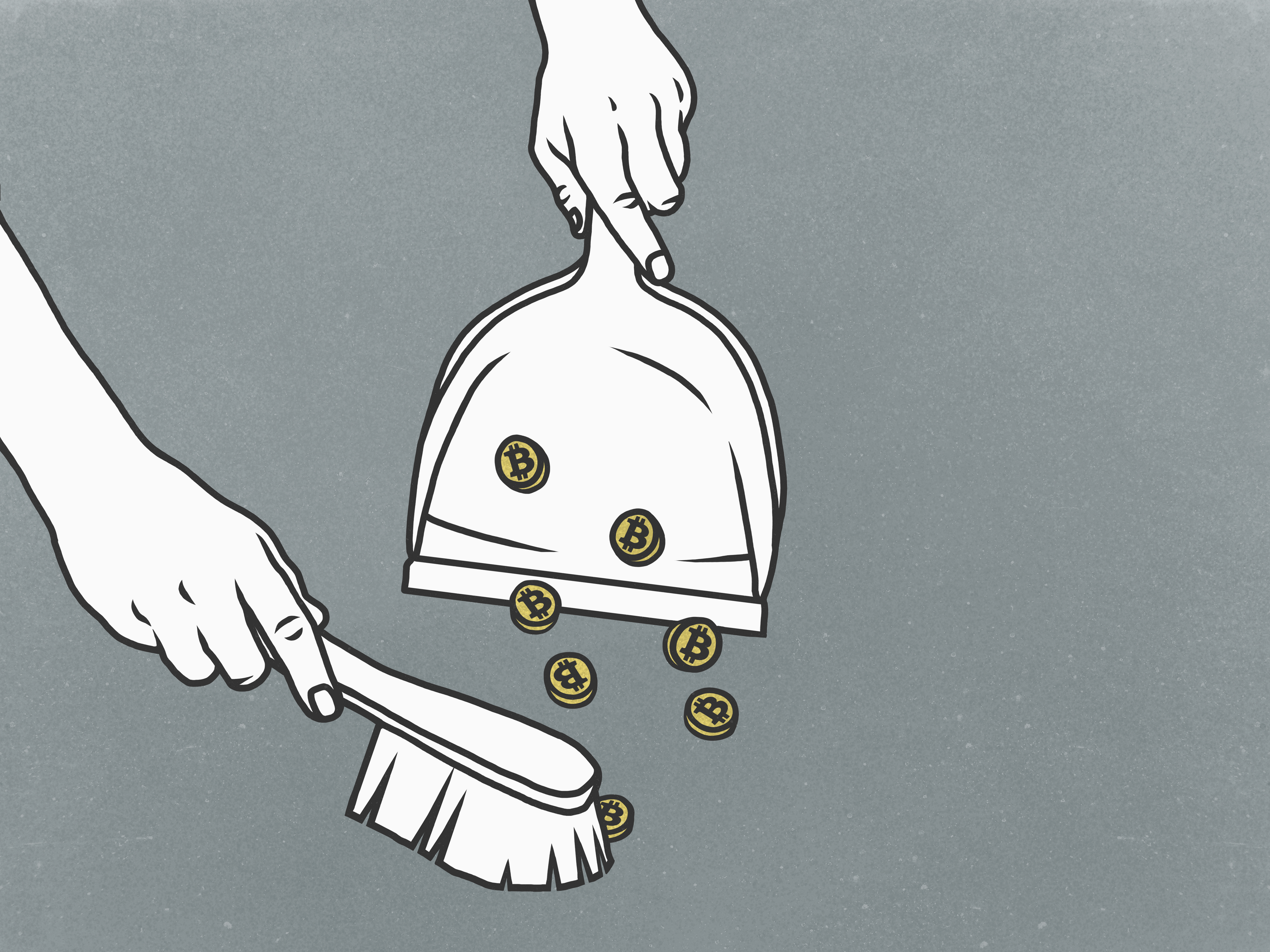 A drawing of two hands, one holding a dustpan while the other sweeps coins labeled with a B for bitcoin into it with a brush.