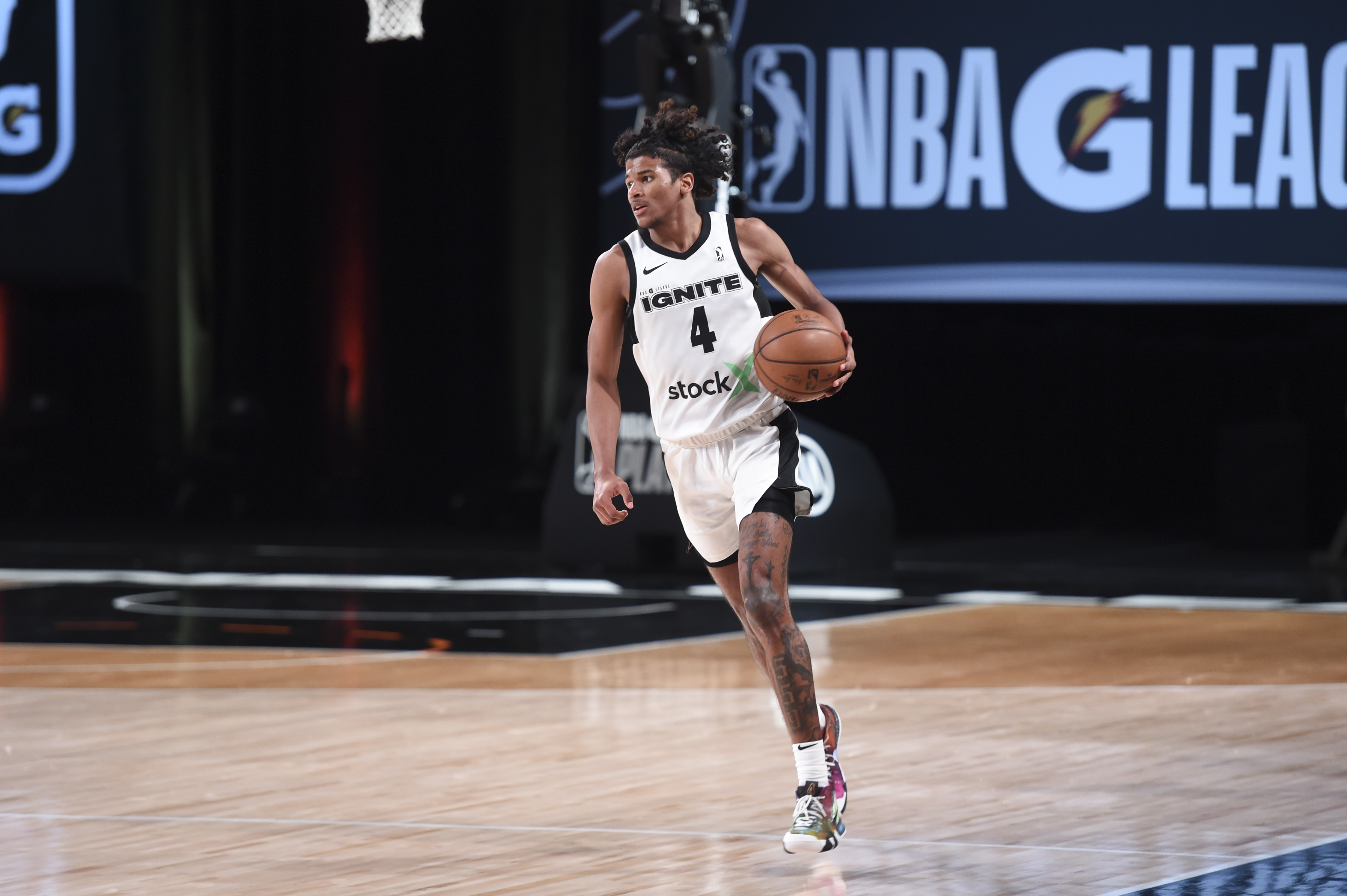 Jalen Green of Team Ignite handles the ball during the game against the Raptors 905 during the NBA G League Playoffs on March 8, 2021 at AdventHealth Arena in Orlando, Florida.