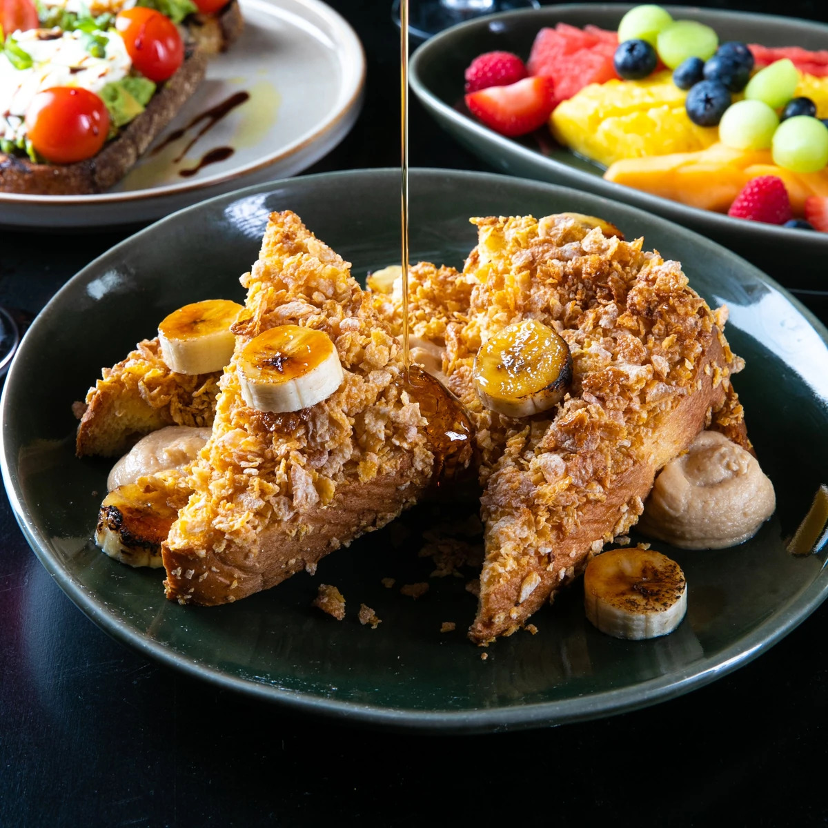 A plate of Froste Flakes-crusted French toast