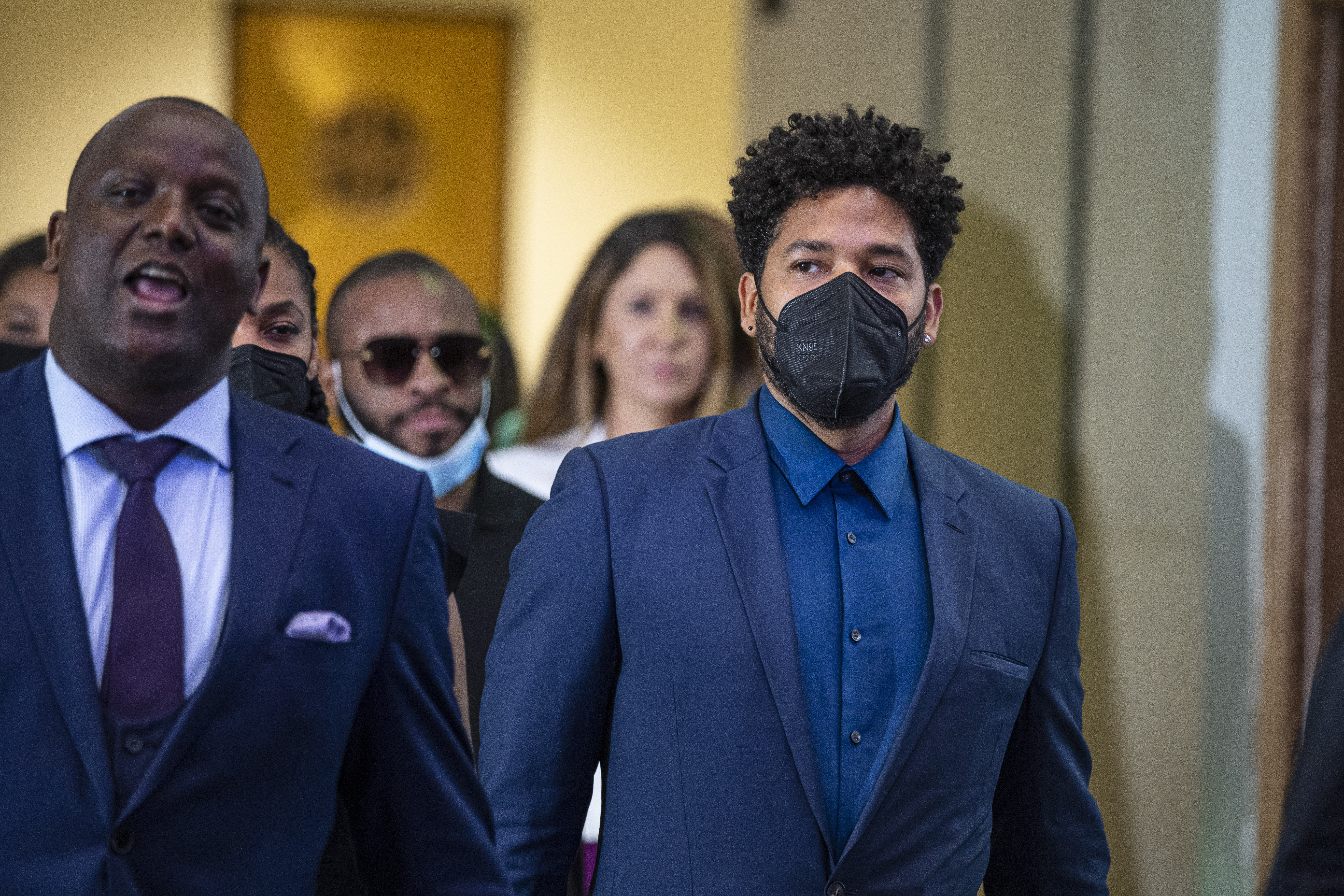 Attorney Nenye Uche, left, and Jussie Smollett leave a hearing at the Leighton Criminal Courthouse on July 14, 2021.