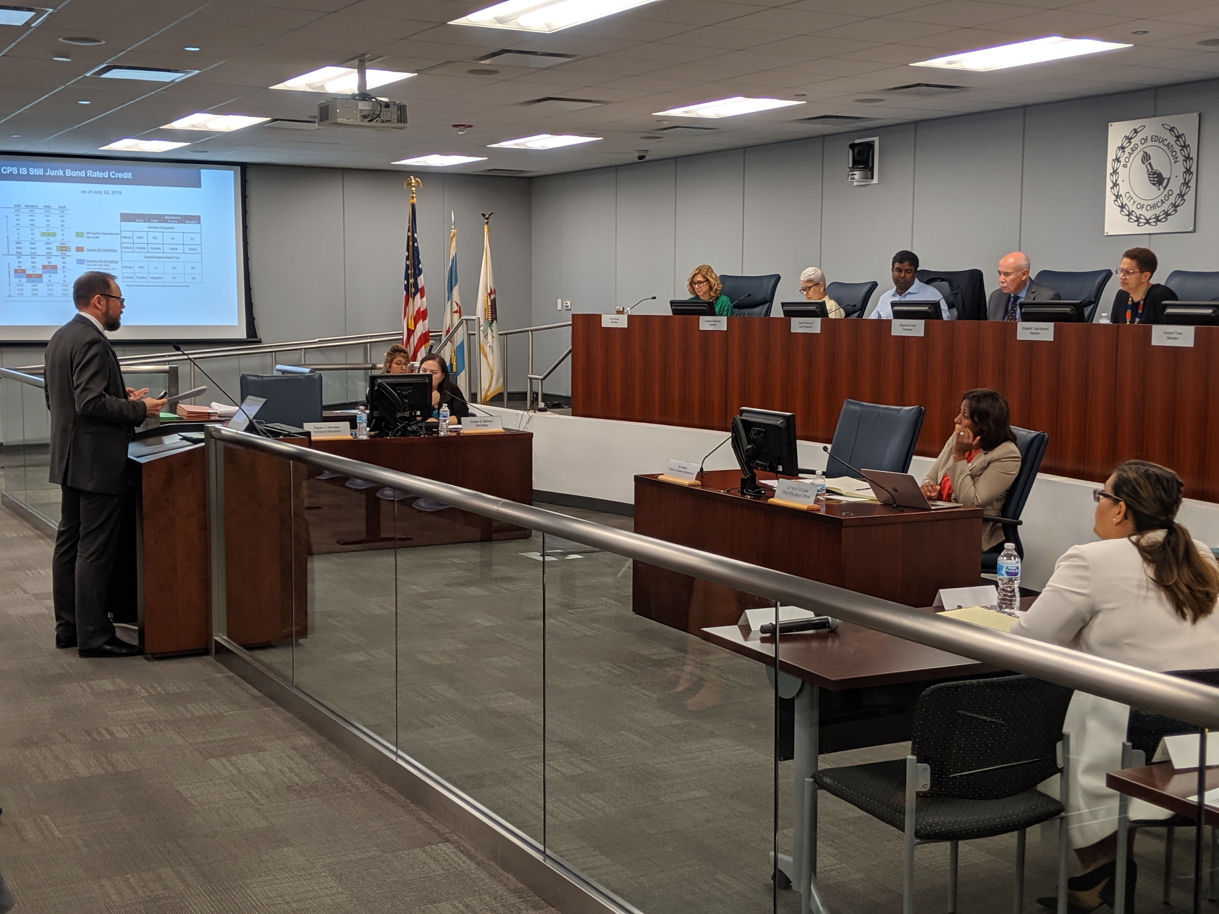 Chicago's appointed school board deliberates in a 2019 meeting. A new law will phase in school board elections in Chicago for the first time in city history and grow the size of the board from seven to 21.