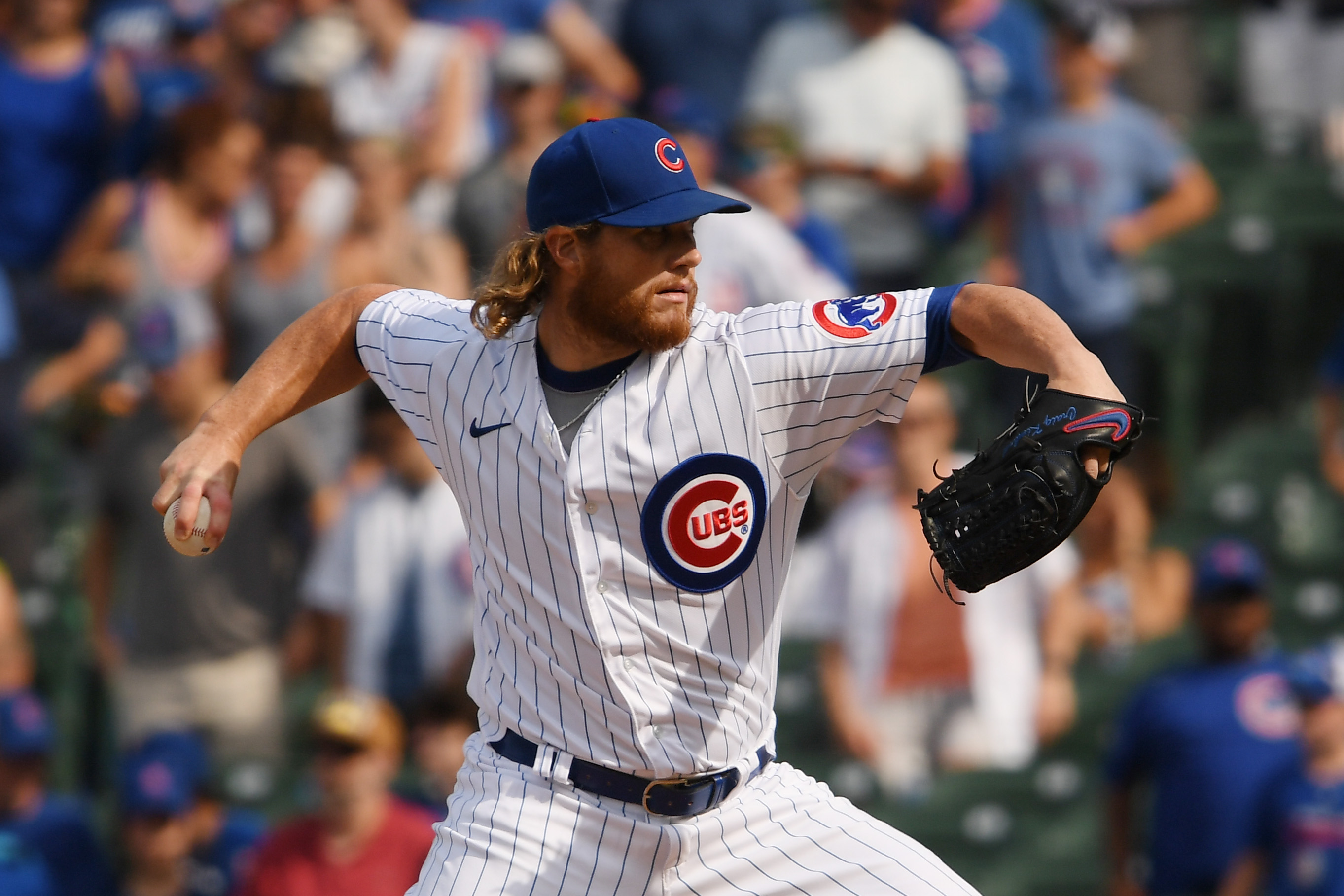 Craig Kimbrel of the Chicago Cubs pitches in the ninth inning against the Arizona Diamondbacks at Wrigley Field on July 25, 2021 in Chicago, Illinois.