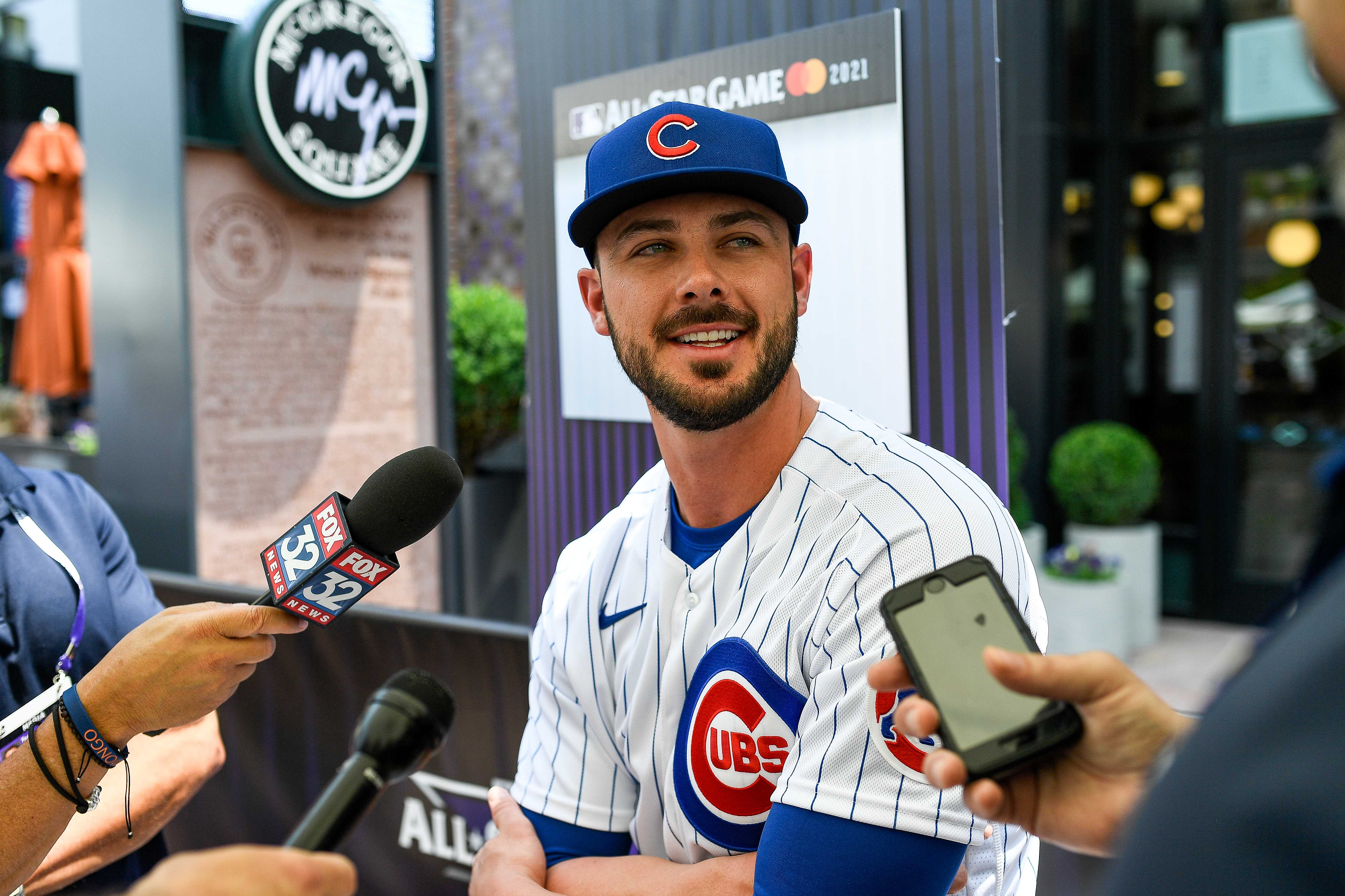 Cubs third baseman Kris Bryant talks to reporters during the All-Star workout day in Denver.