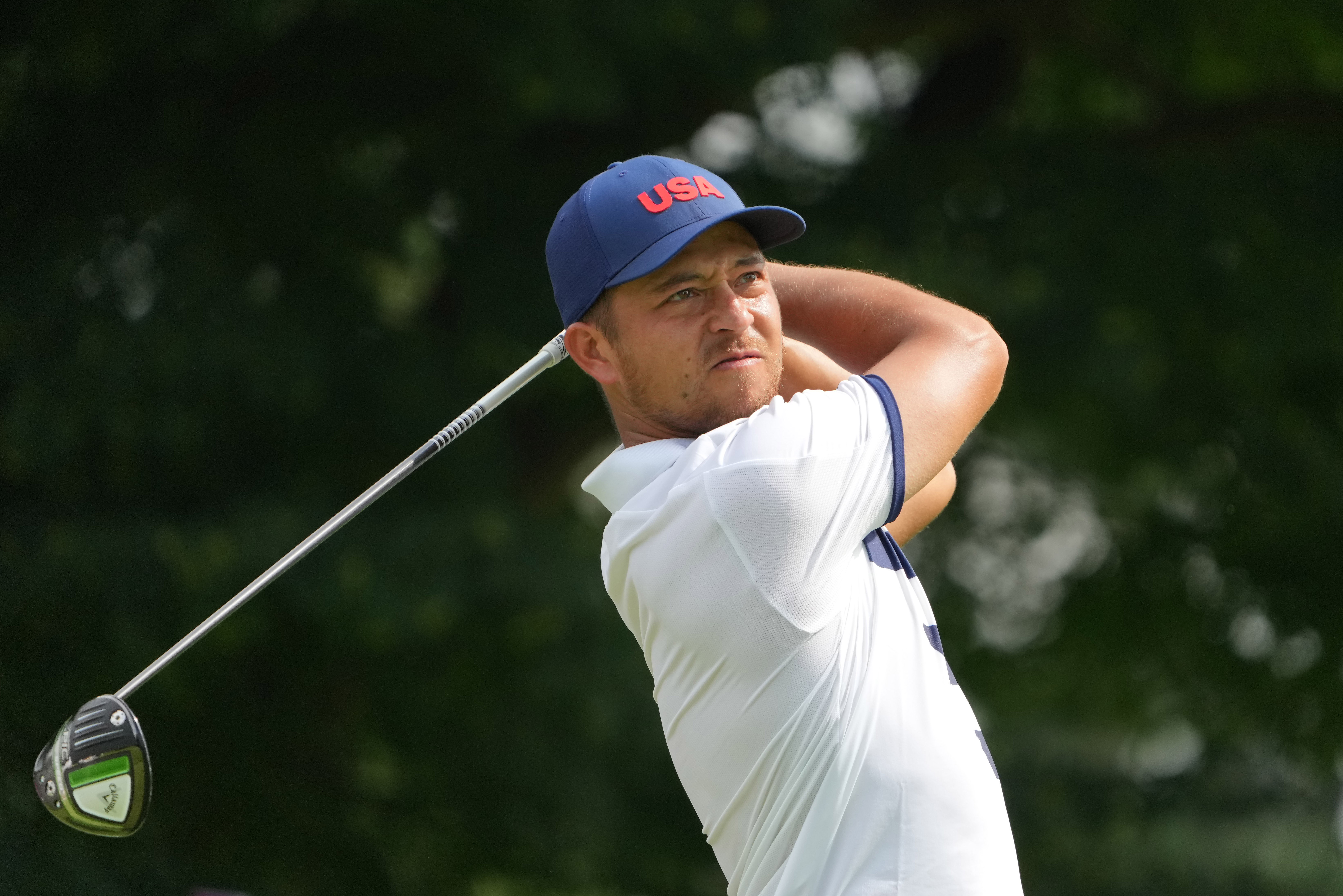 Xander Schauffele watches his tee shot on the third hole during round one of the men's individual stroke play of the Tokyo 2020 Olympic Summer Games at Kasumigaseki Country Club.