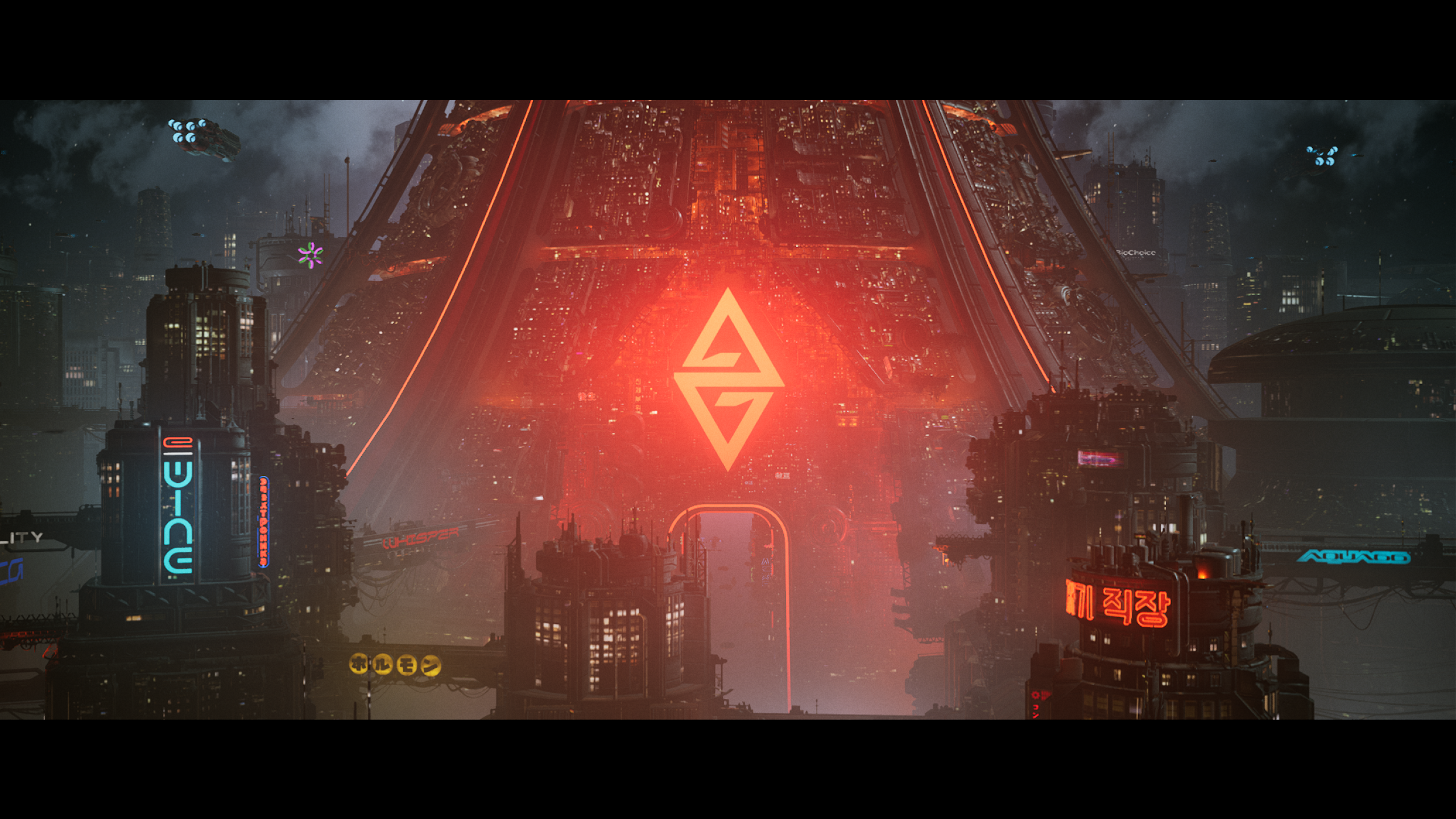 A cyberpunk tower glows red in The Ascent