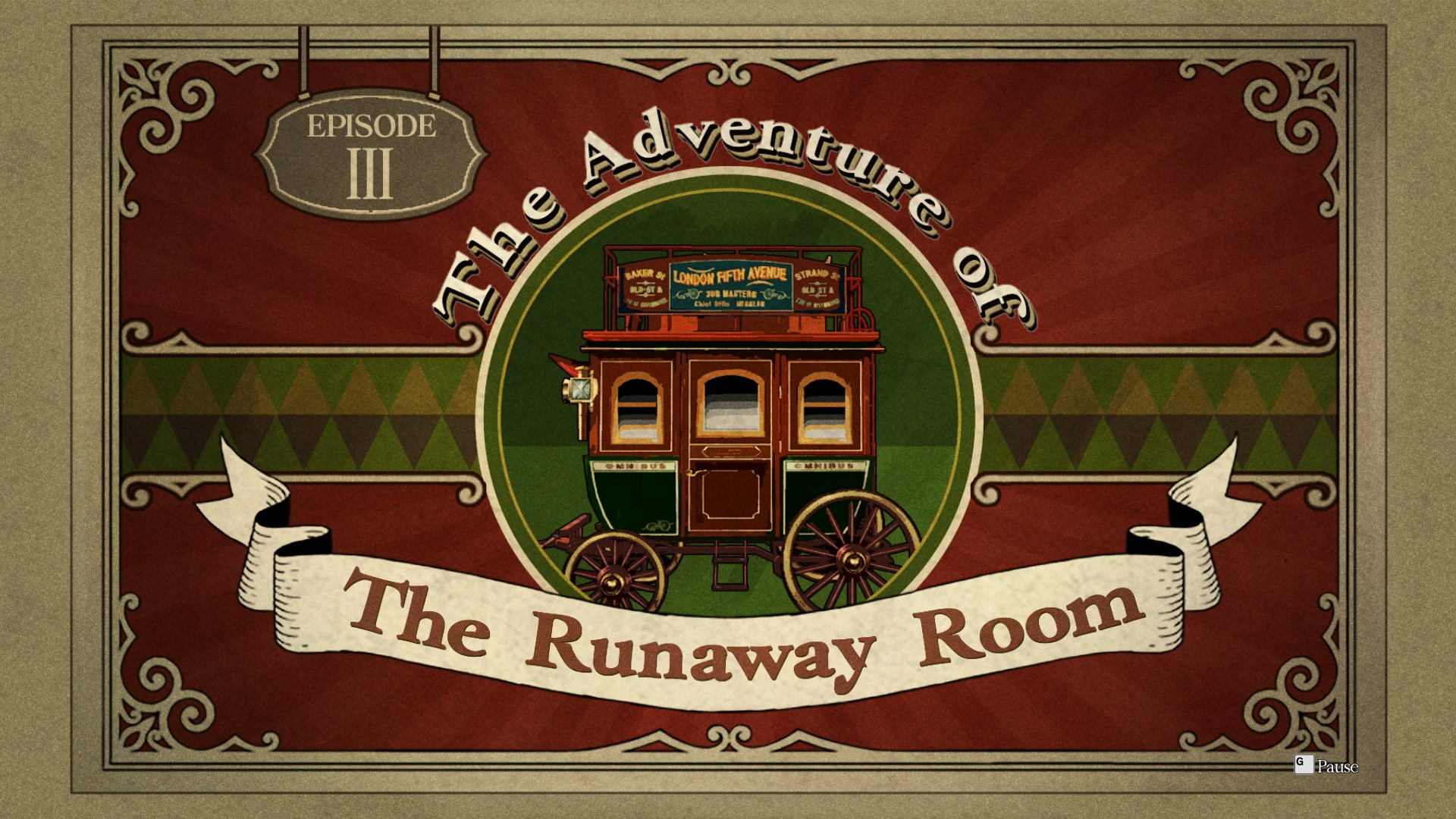 """An Ace Attorney title card with a picture of an omnibus in the center. The text around it says """"The Adventure of the Runaway Room."""""""