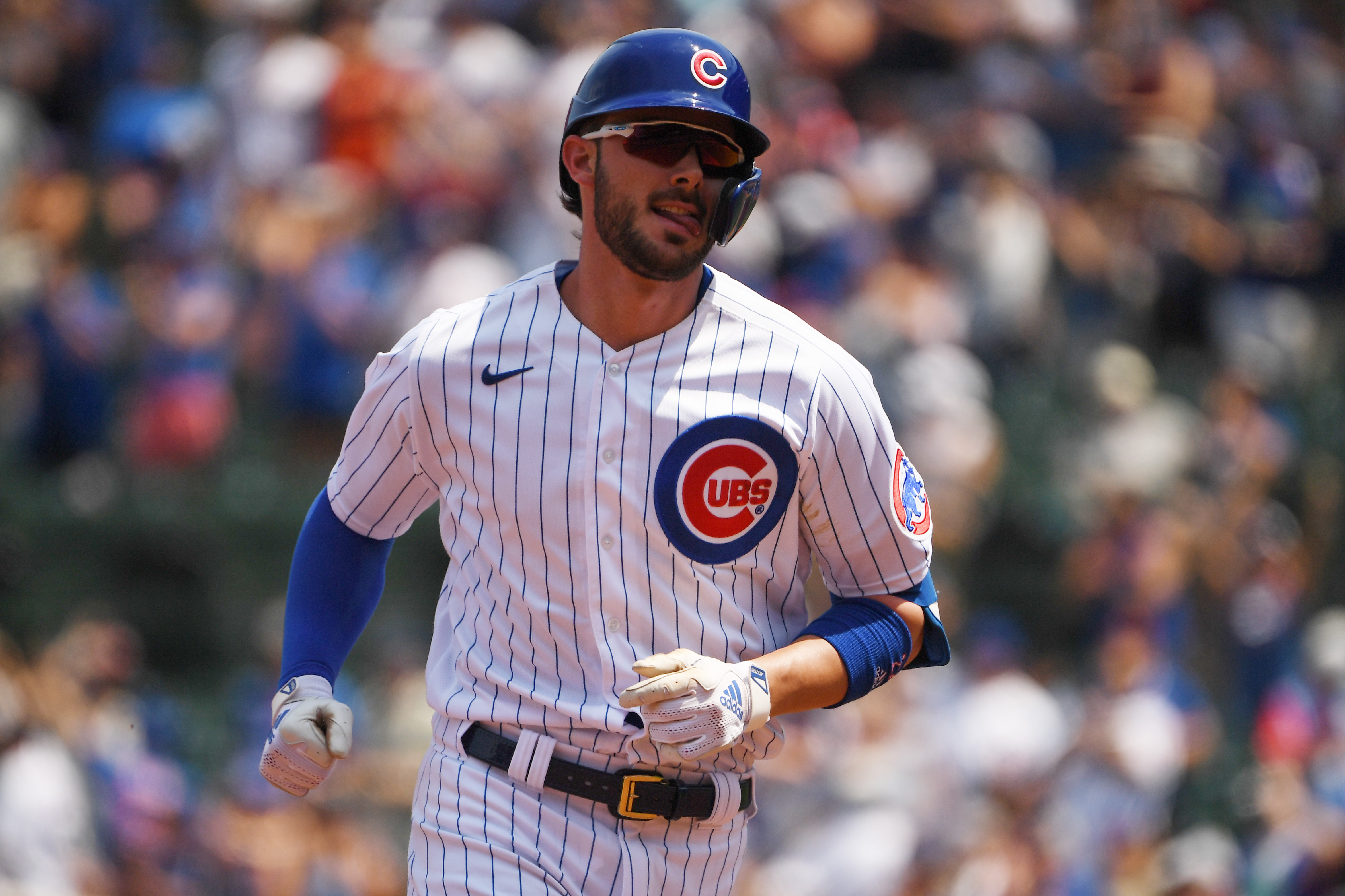 Kris Bryant #17 of the Chicago Cubs hits a two-run home run against the Arizona Diamondbacks at Wrigley Field on July 25, 2021 in Chicago, Illinois.