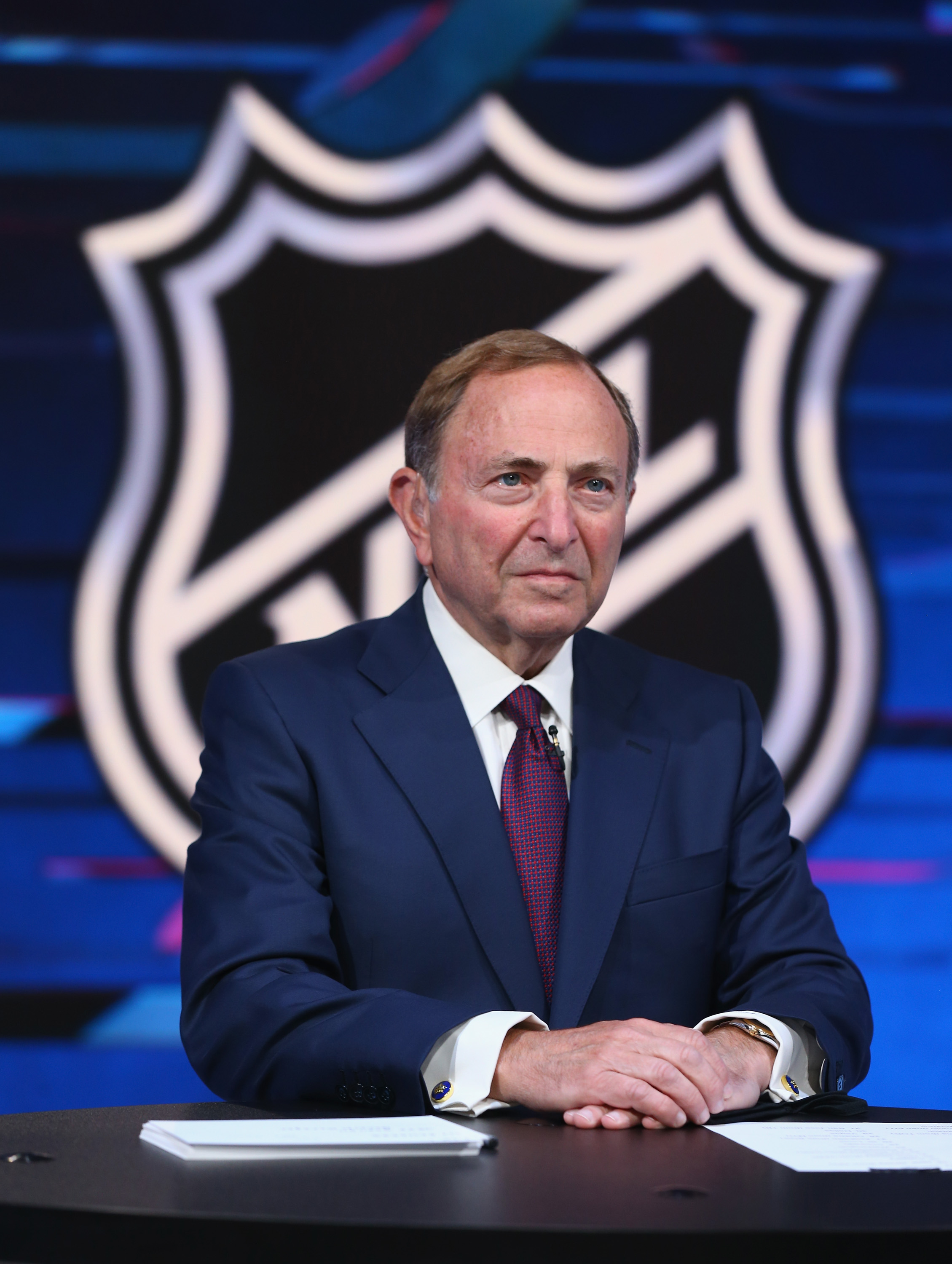 NHL commissioner Gary Bettman prepares for the first round of the 2020 National Hockey League Draft at the NHL Network Studio on October 06, 2020 in Secaucus, New Jersey.