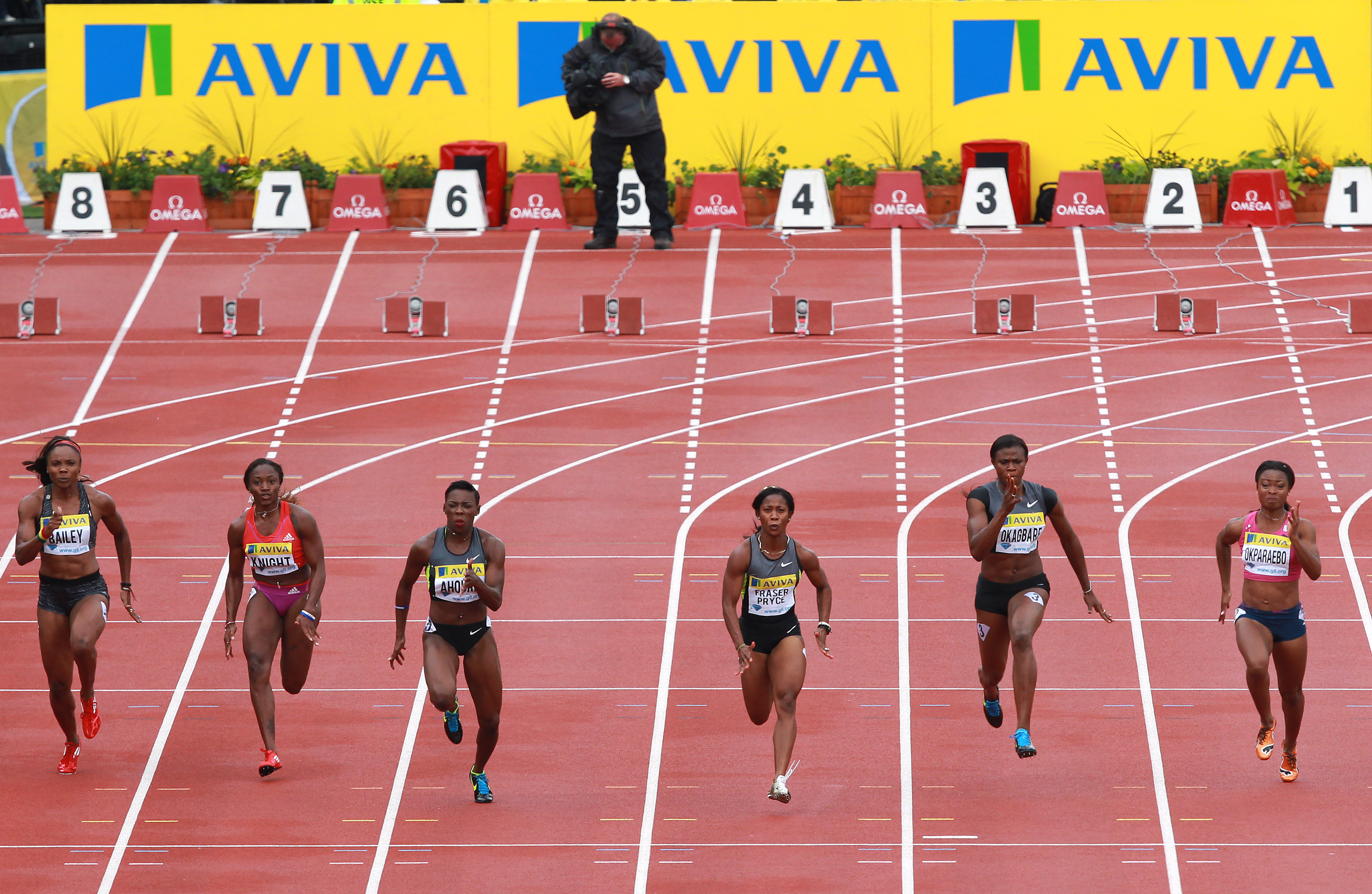 Shelley-Ann Fraser-Pryce of Jamaica wins her 100m heat during day two of the Aviva London Grand Prix at Crystal Palace on July 14, 2012 in London, England.