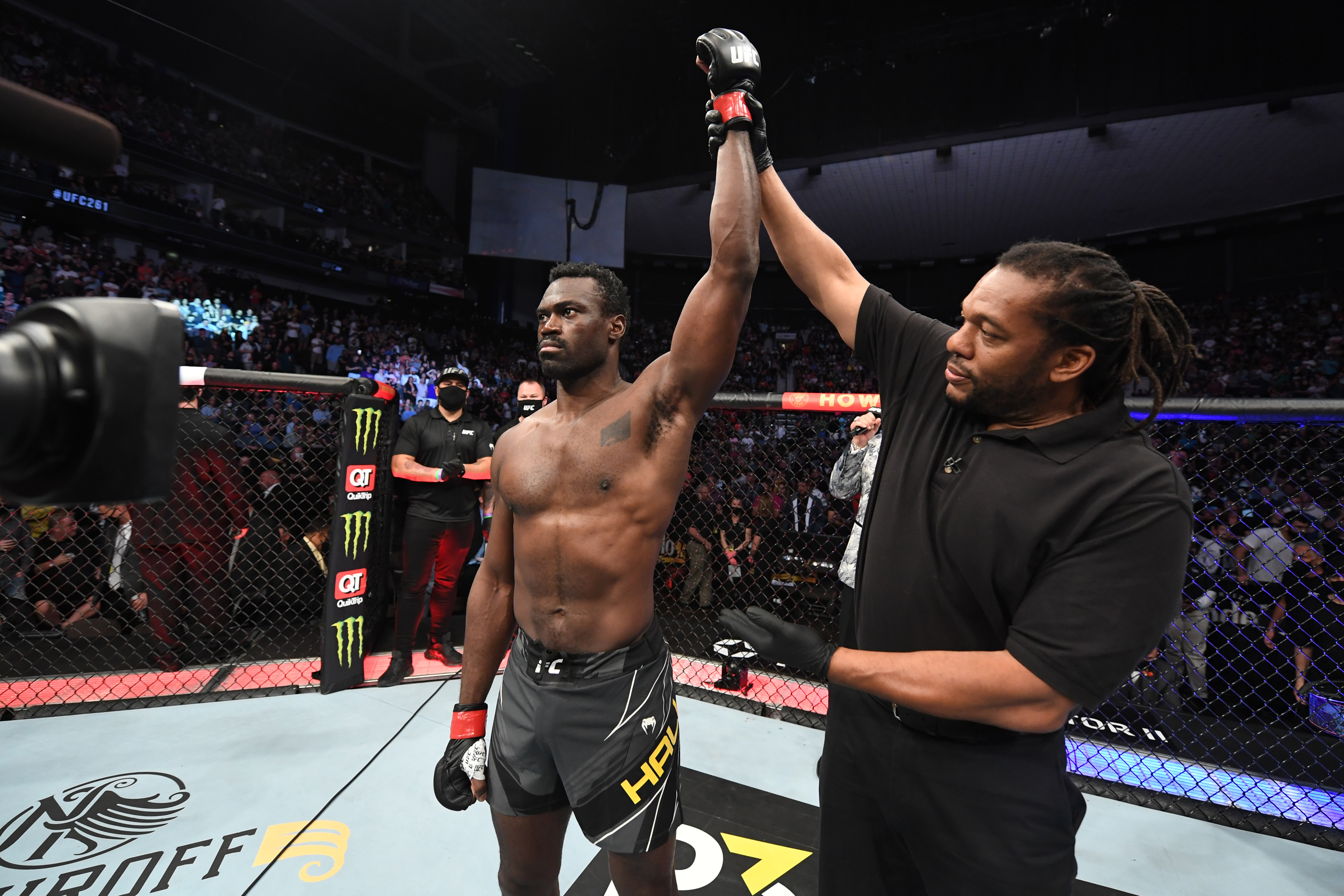Uriah Hall of Jamaica reacts after defeating Chris Weidman in their middleweight bout during the UFC 261 event at VyStar Veterans Memorial Arena on April 24, 2021 in Jacksonville, Florida.