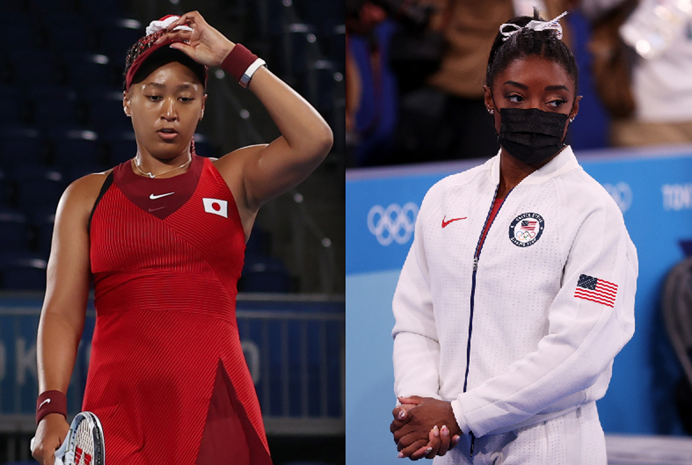 Top athletes Naomi Osaka (left) and Simone Biles have each talked publicly about their mental health. | Getty Images