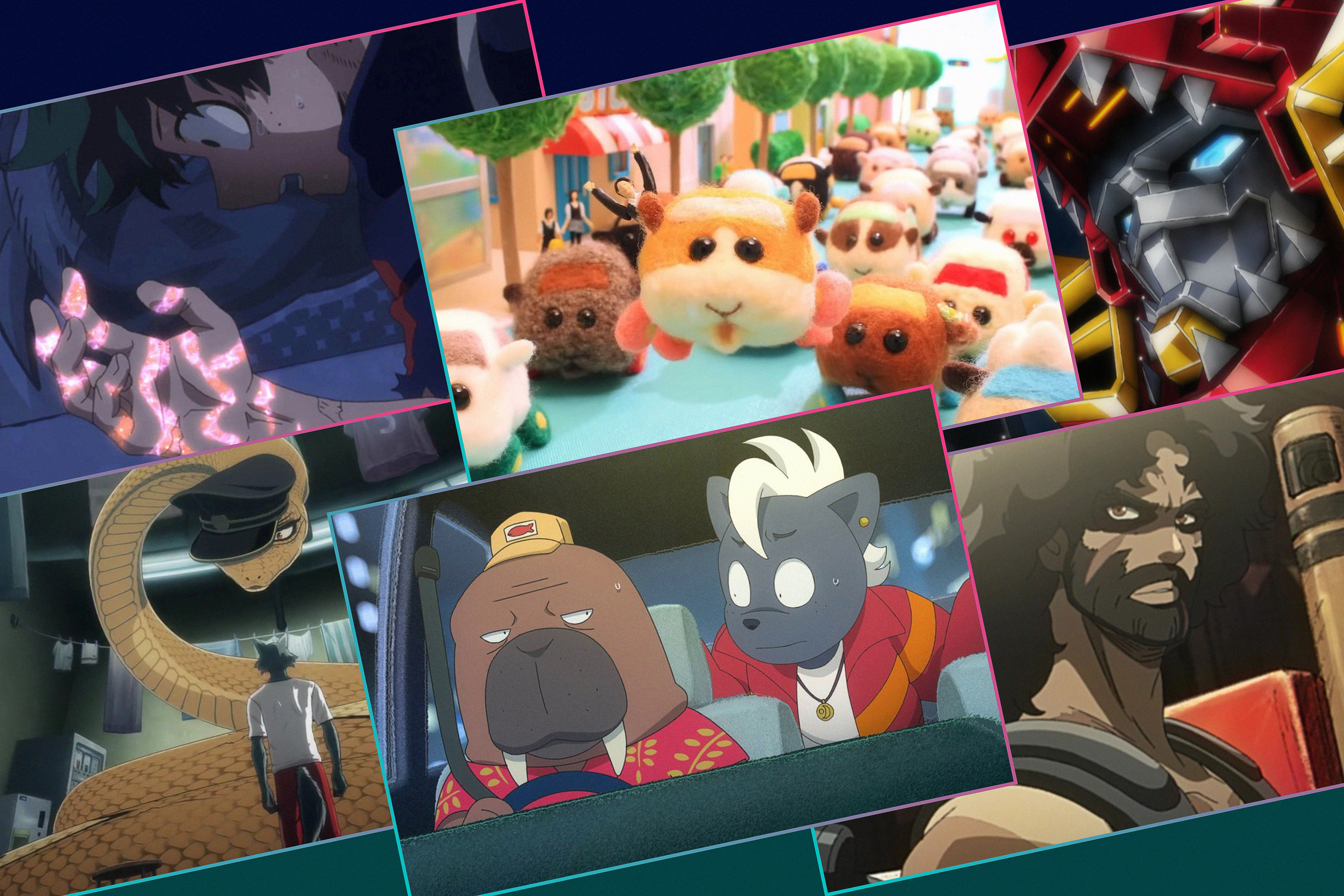 Graphic grid featuring six different images from Anime series