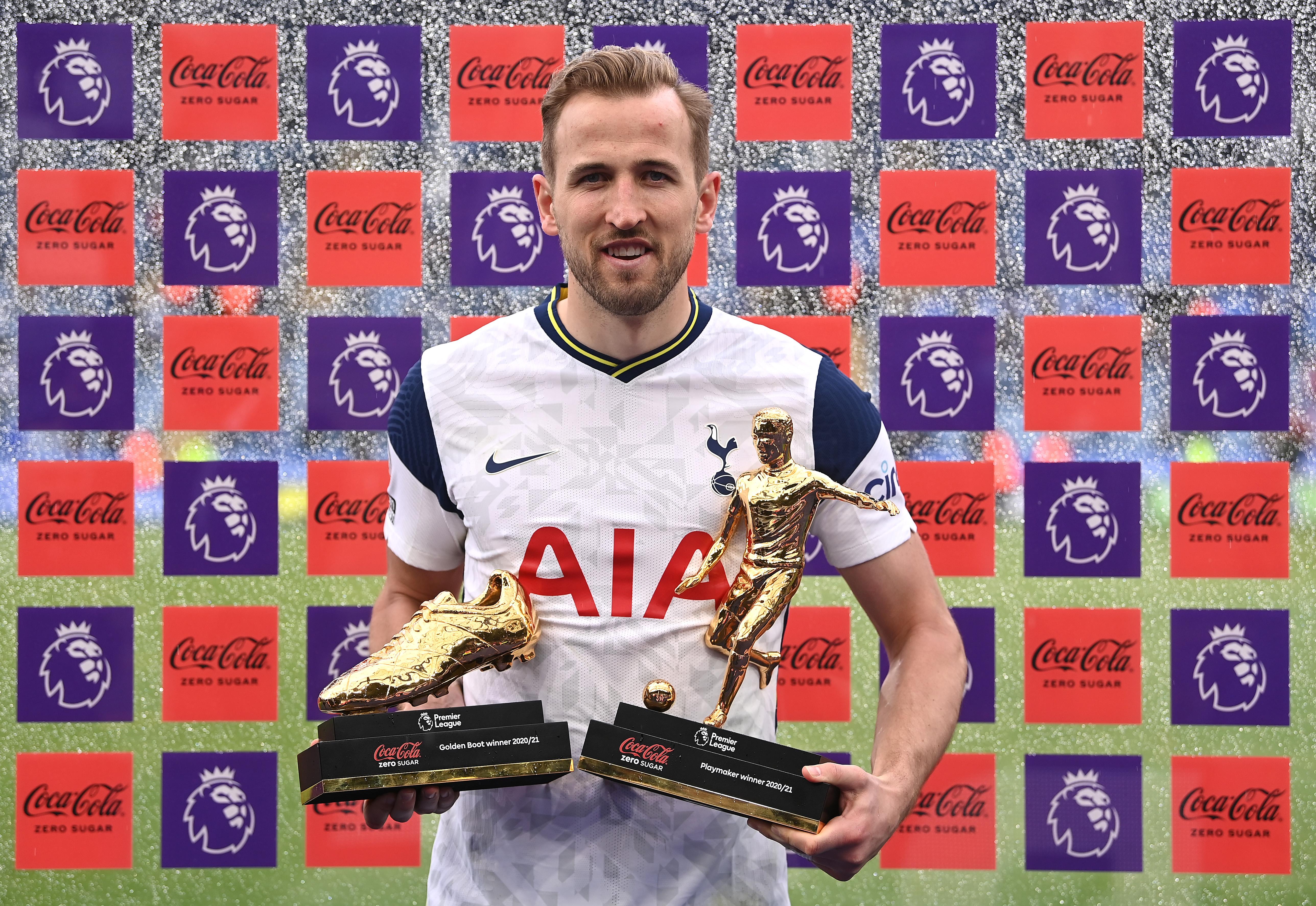 Harry Kane poses with his two trophies - Tottenham Hotspur - Premier League
