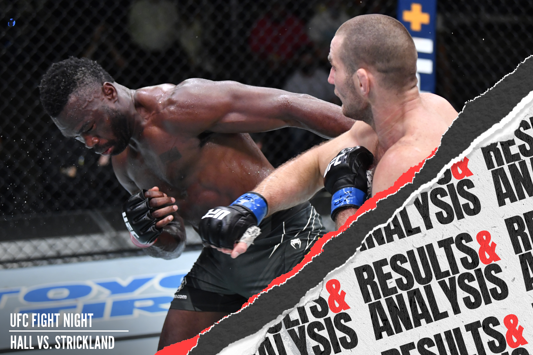 Sean Strickland punches Uriah Hall in the UFC Vegas 33 main event.
