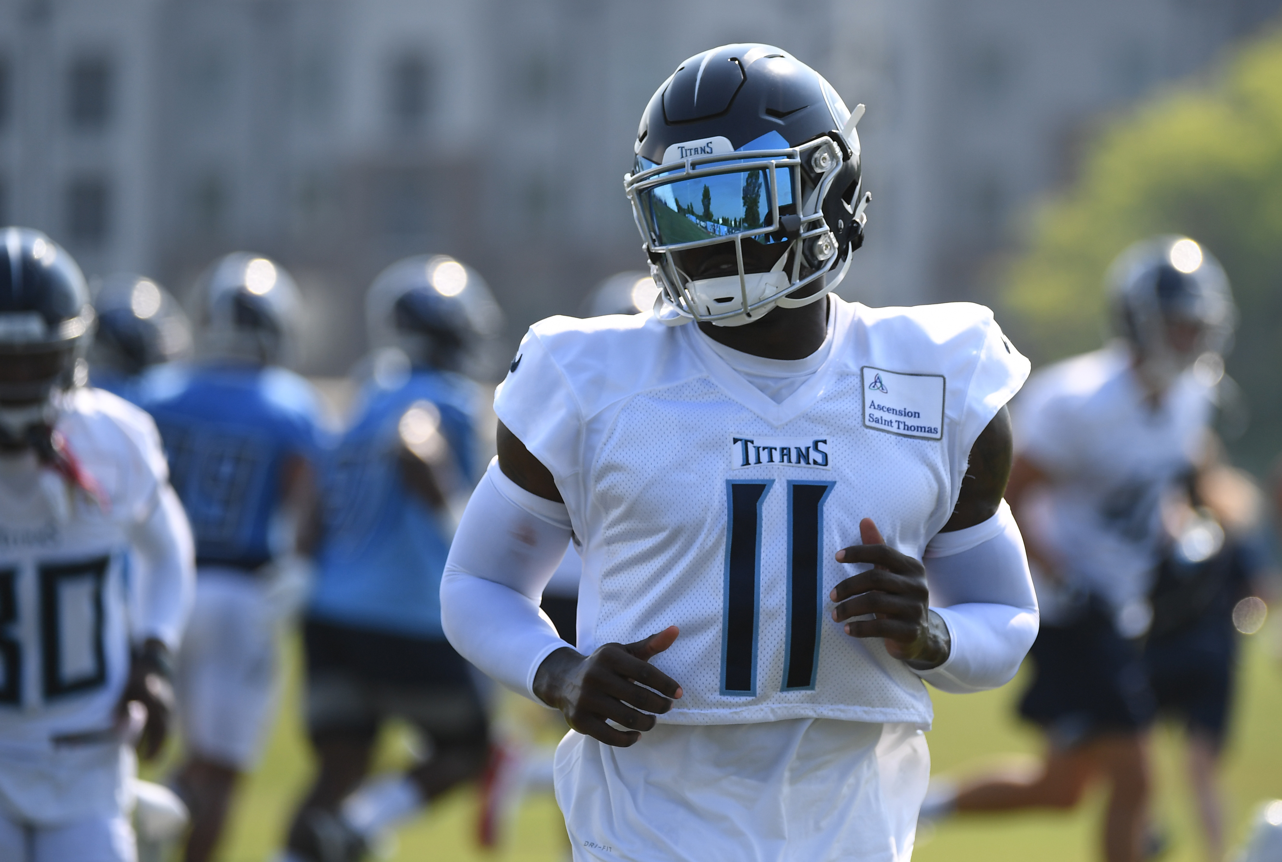 Tennessee Titans wide receiver A.J. Brown (11) during training camp at Saint Thomas Sports Park.
