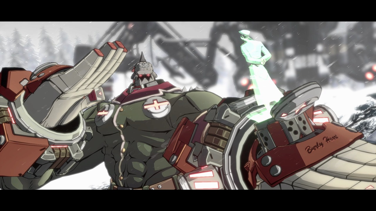 The Guilty Gear character Potemkin is a giant shirtless man wearing a knight's helmet and massive metal attachments on his hands