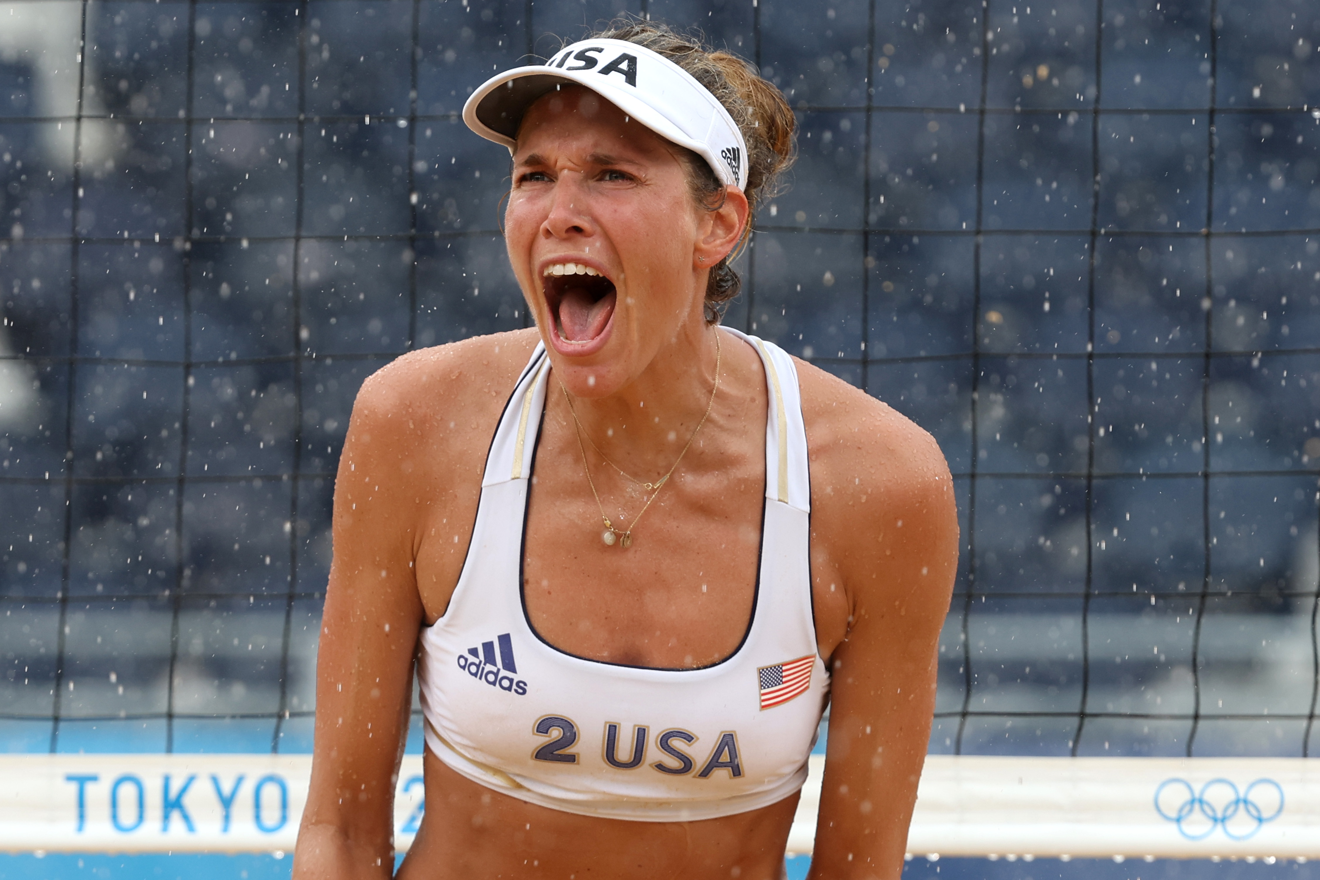 Alix Klineman of Team United States reacts against Team Netherlands during the Women's Preliminary - Pool B beach volleyball on day seven of the Tokyo 2020 Olympic Games at Shiokaze Park on July 30, 2021 in Tokyo, Japan.