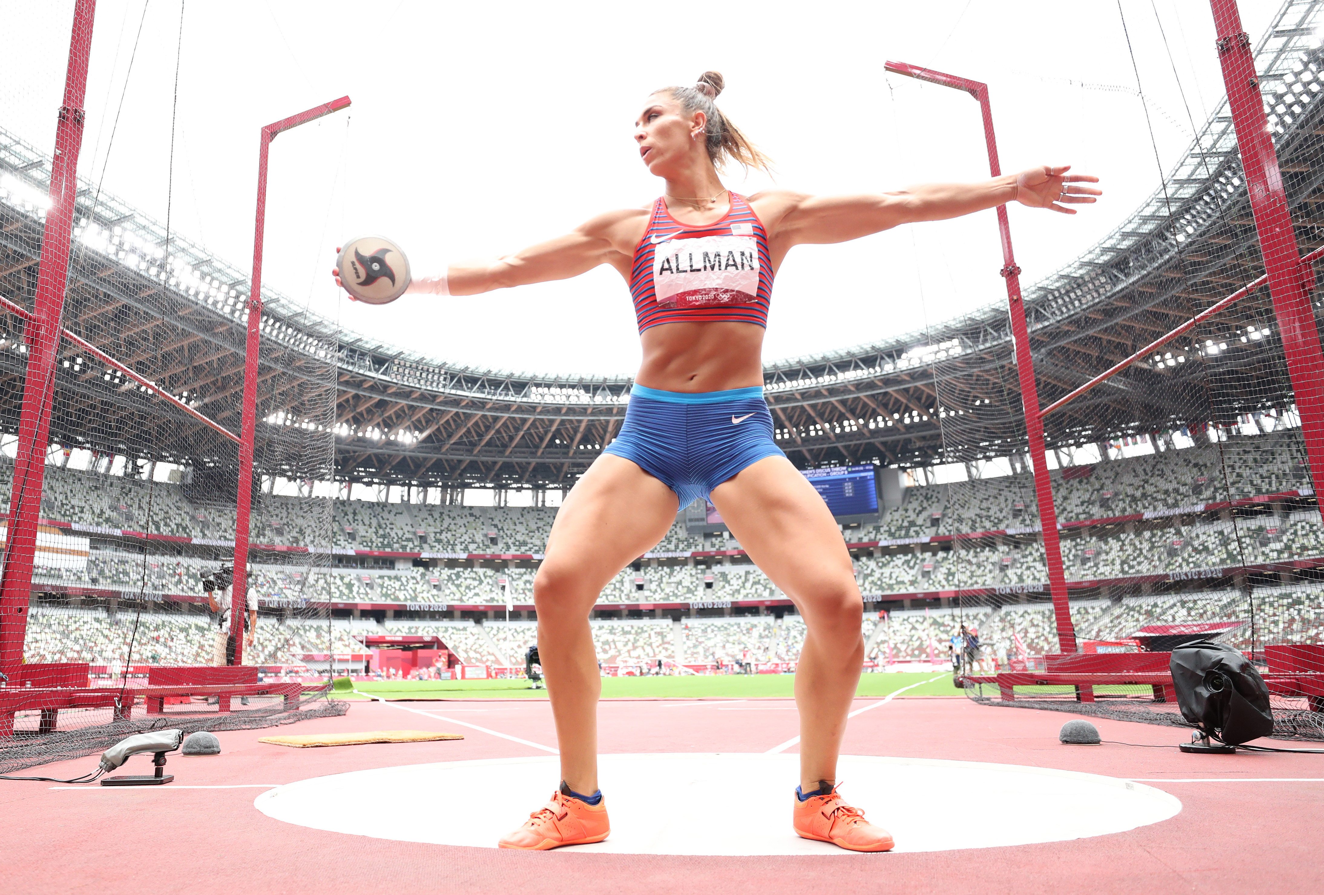 Valarie Allman of Team United States competes in the Women's Discus Throw Qualification on day eight of the Tokyo 2020 Olympic Games at Olympic Stadium on July 31, 2021 in Tokyo, Japan.