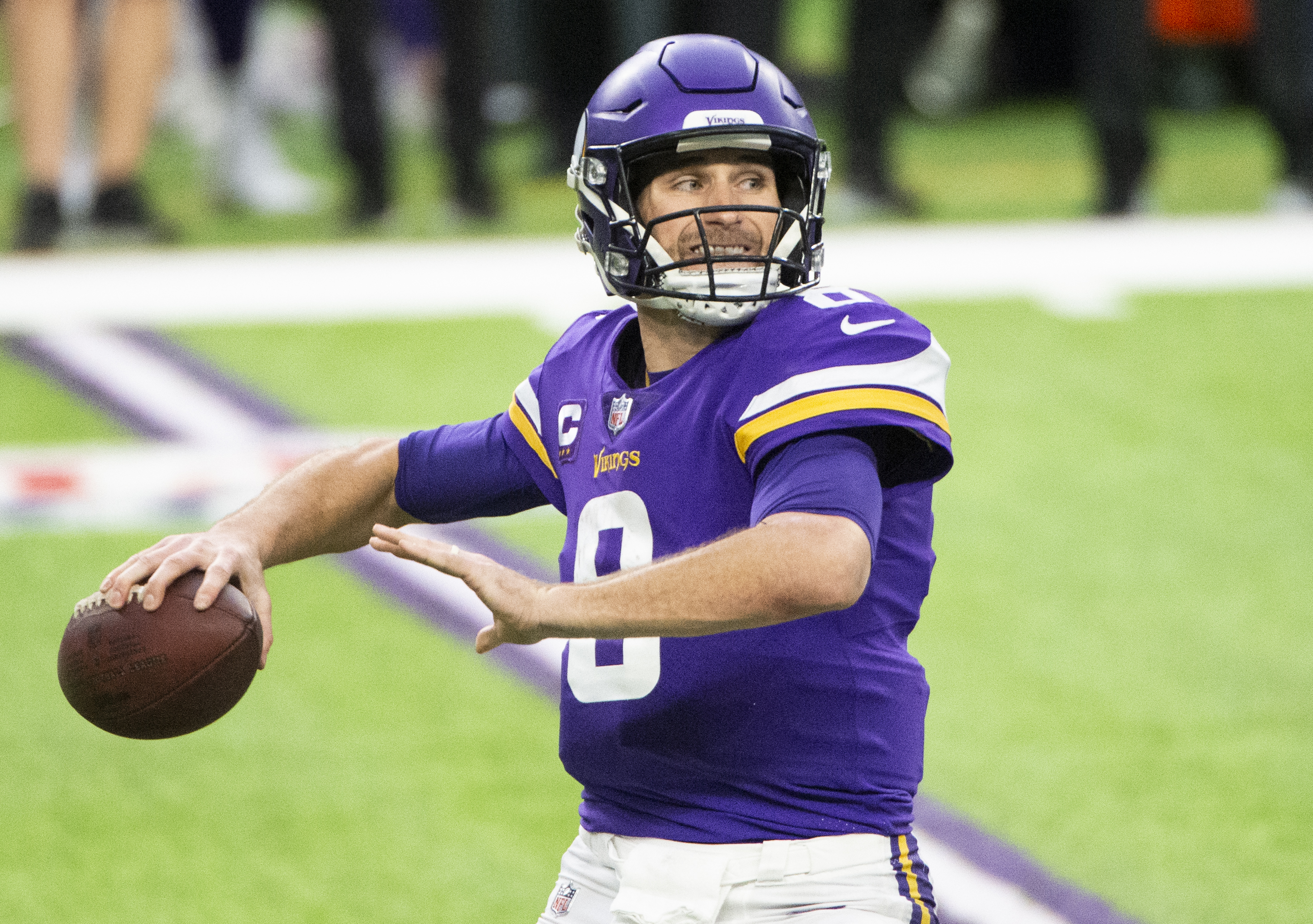 Kirk Cousins #8 of the Minnesota Vikings passes the ball in the fourth quarter of the game against the Chicago Bears at U.S. Bank Stadium on December 20, 2020 in Minneapolis, Minnesota.