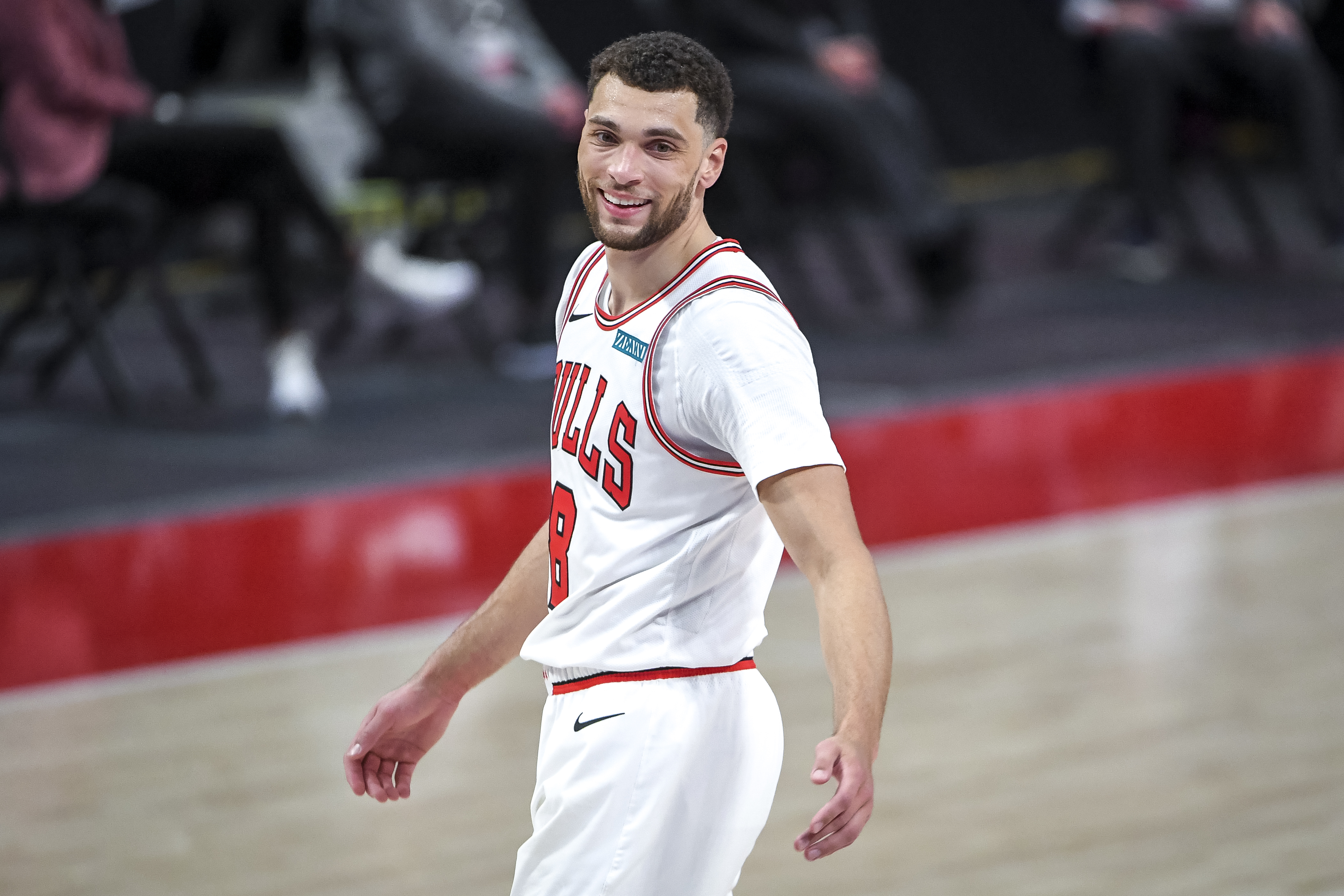 Zach LaVine of the Chicago Bulls smiles during the second quarter of the NBA game against the Detroit Pistons at Little Caesars Arena on May 09, 2021 in Detroit, Michigan.