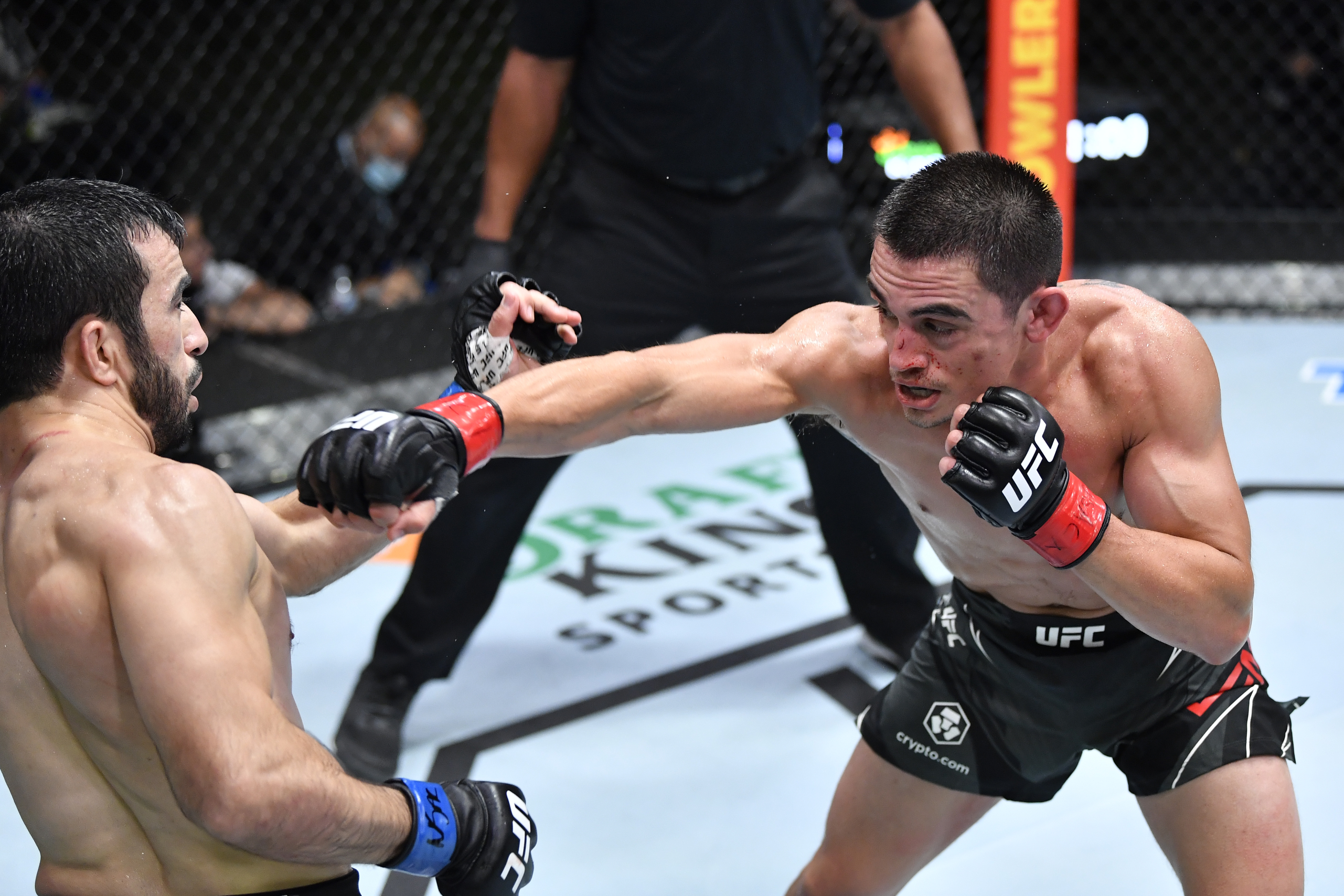 Ryan Benoit during his fight with Zarrukh Adashev at UFC Vegas 33 on Saturday night.