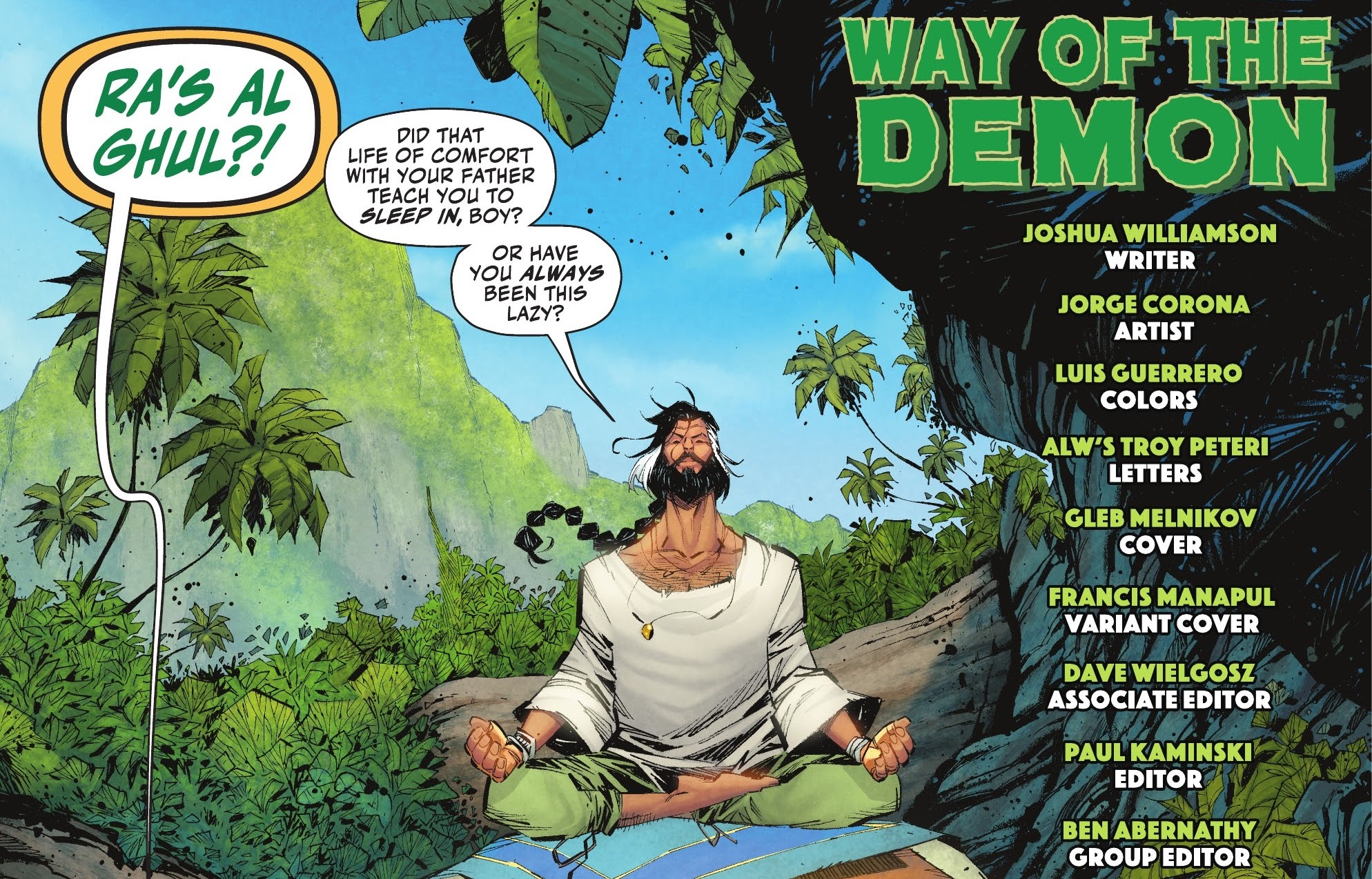 Ra's al Ghul sits in lotus position in a jungle. He's wearing a lose white shirt, loose green pants, and has a full beard, with his waist-length hair tied back in a flowing braid in Robin #4 (2021).