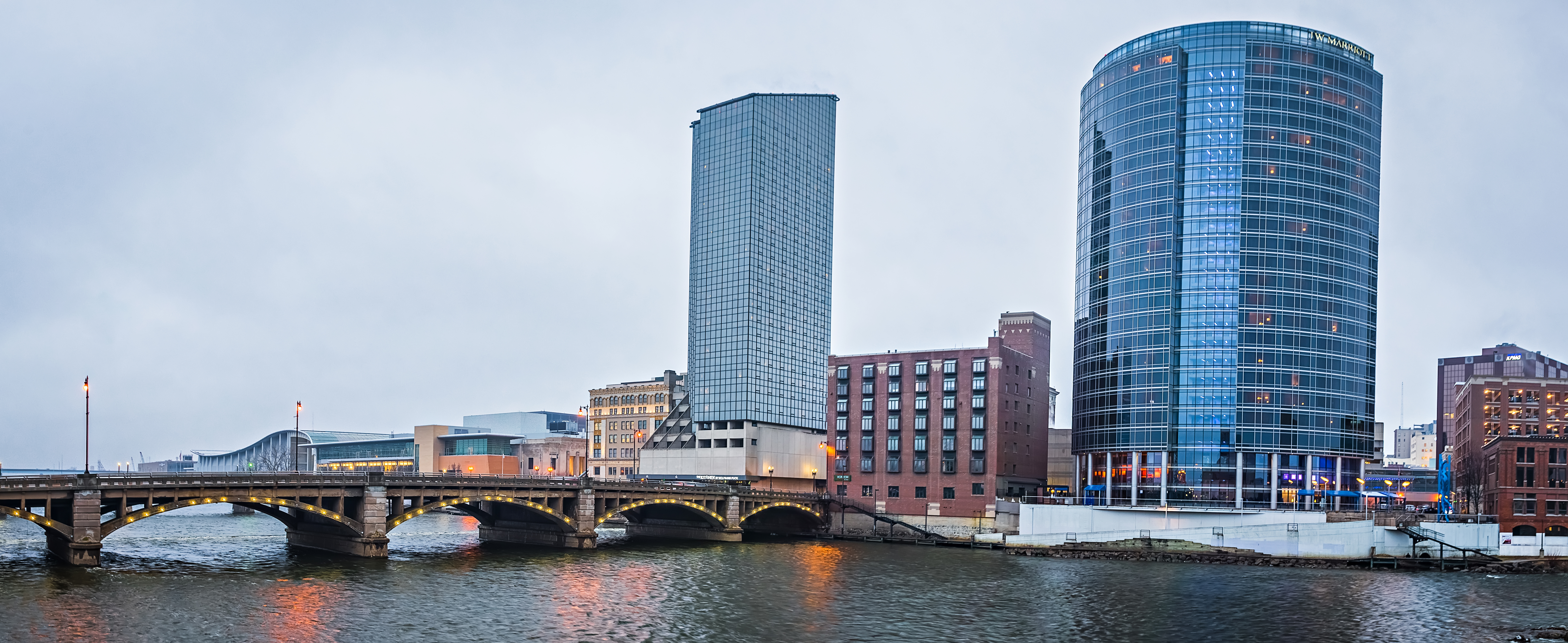 Skyline and Lake Michigan waterfront in Grand Rapids