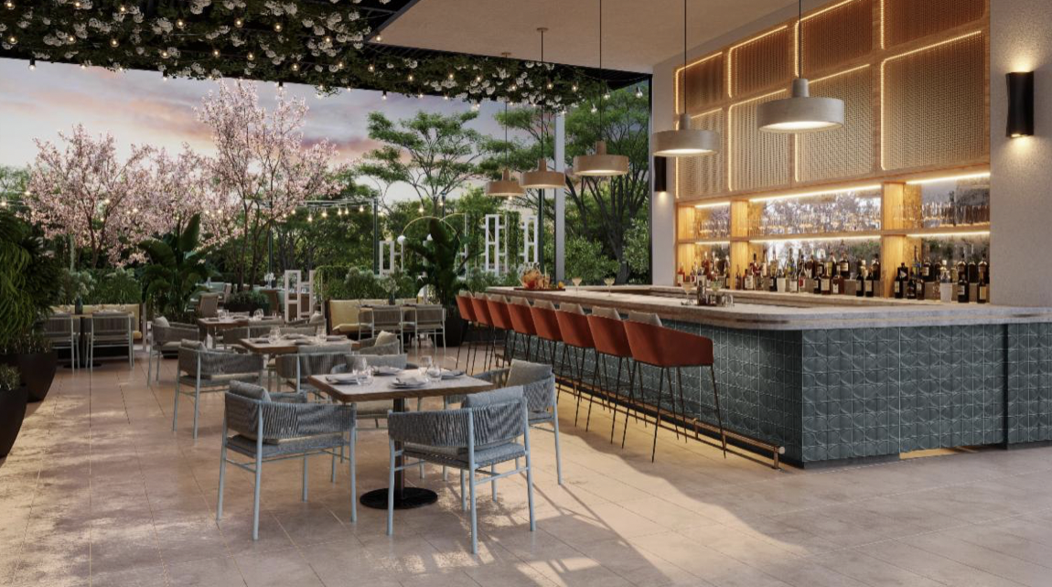 A rendering of a patio with a bar