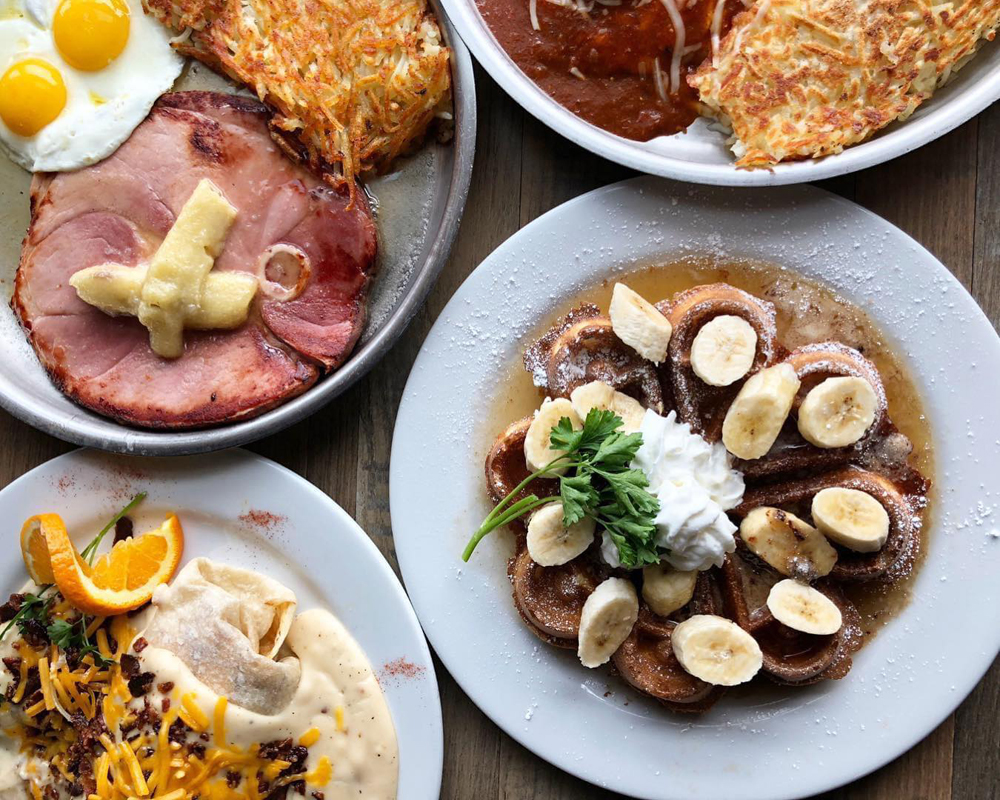 Morning favorites including the namesake dish, at breakfast and brunch restaurant, Peg's Glorified Ham n Eggs.