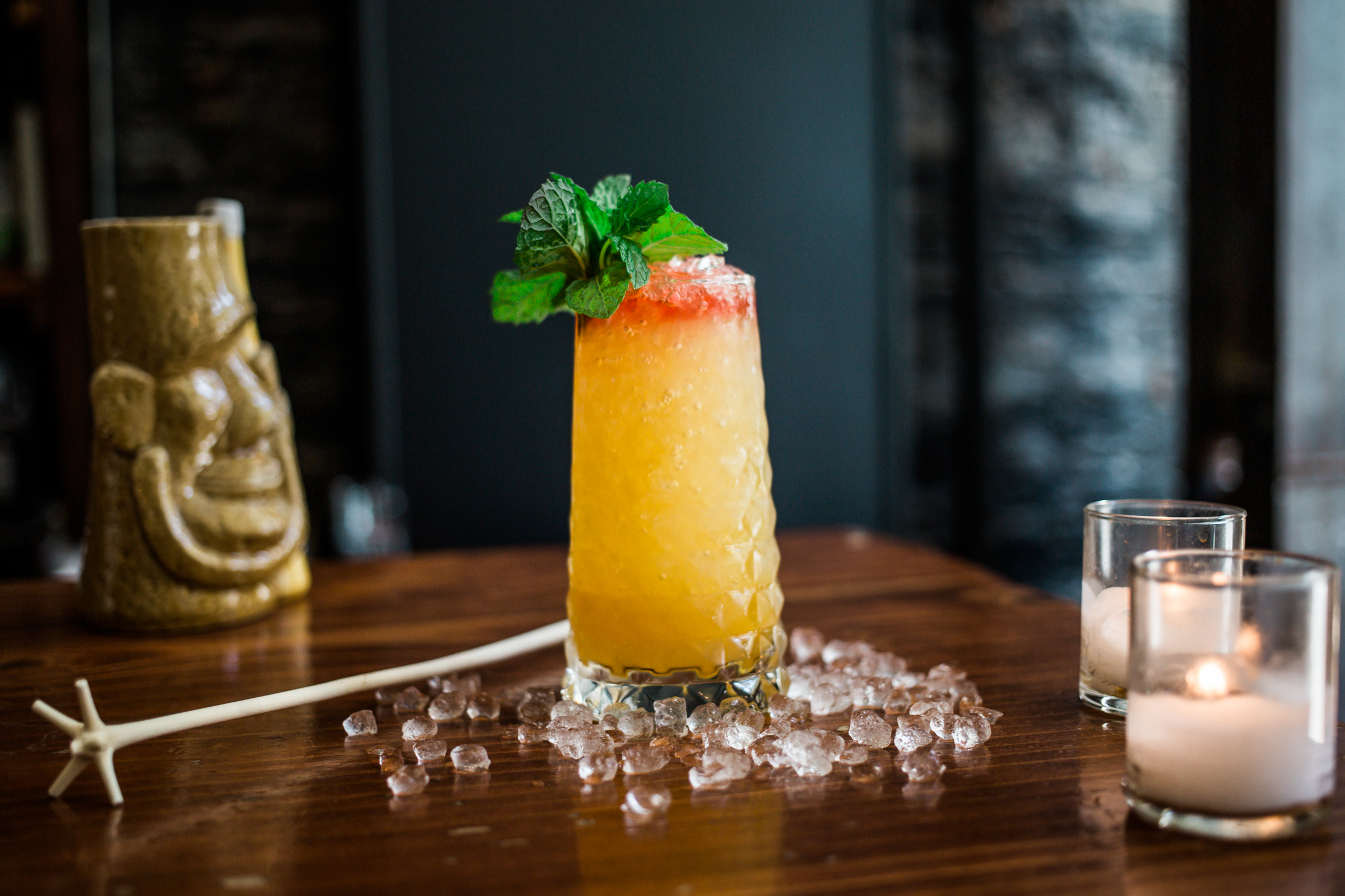 A brightly hued tiki-style drink from Pacific Cocktail Haven