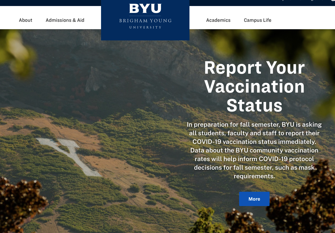 A screen capture of BYU.edu shows how the university is asking all students, faculty and staff to report their COVID-19 vaccination status.