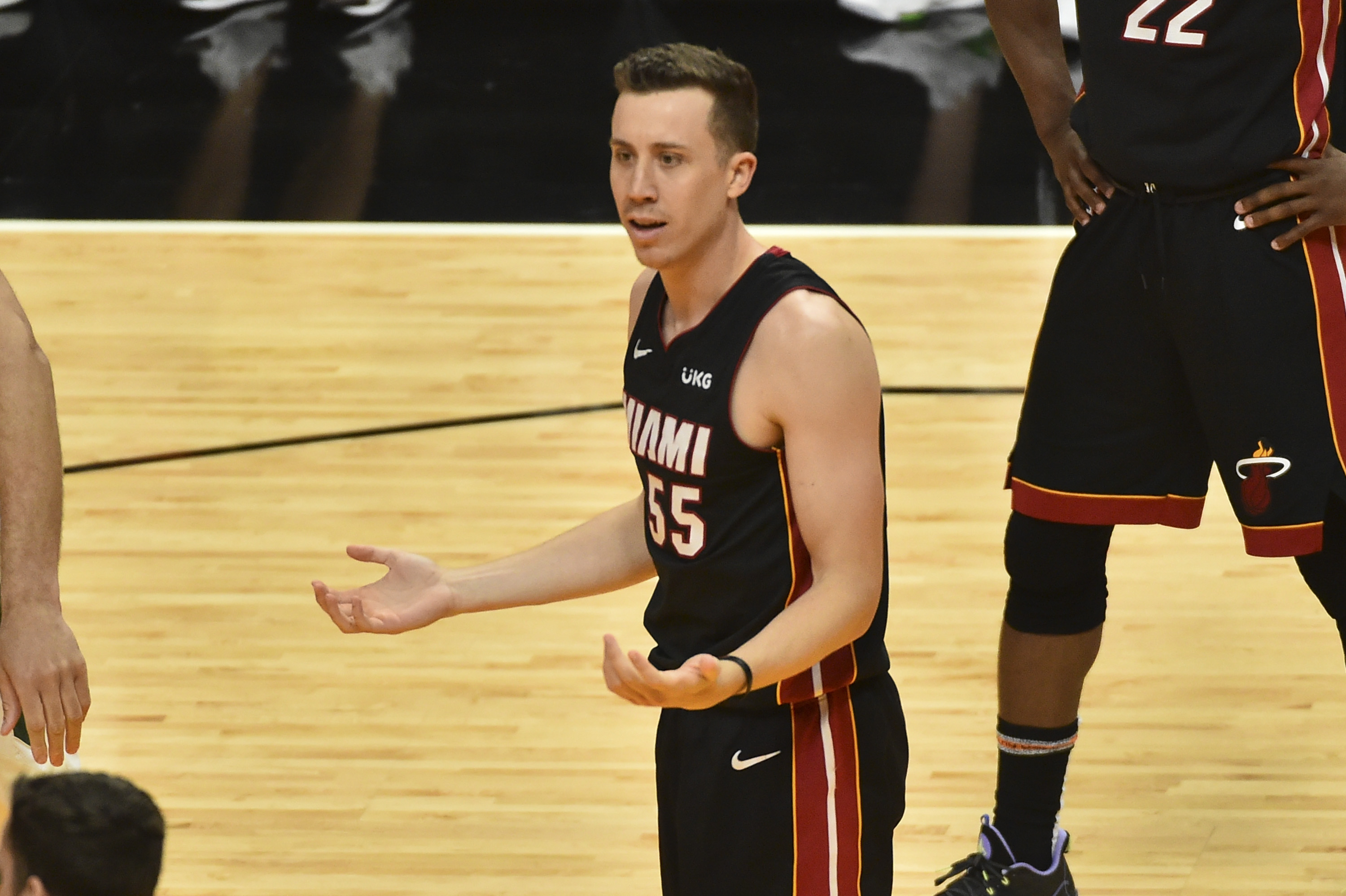 Duncan Robinson of the Miami Heat reacts after being called for a foul against the Milwaukee Bucks during Game Four of the Eastern Conference first-round playoff series at American Airlines Arena on May 29, 2021 in Miami, Florida.