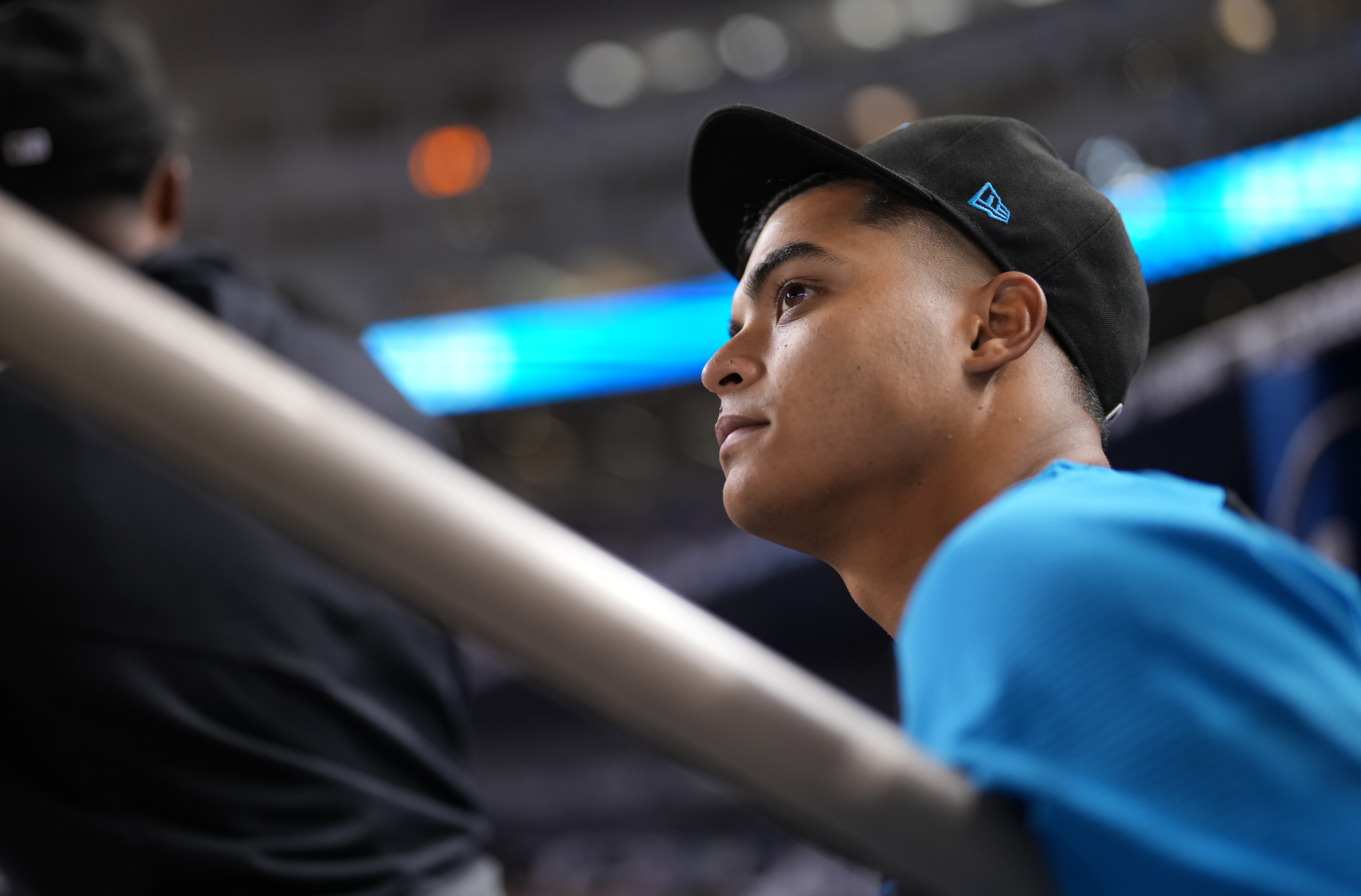 Jesús Luzardo #44 of the Miami Marlins looks on from the dugout during the game against the New York Mets at loanDepot park
