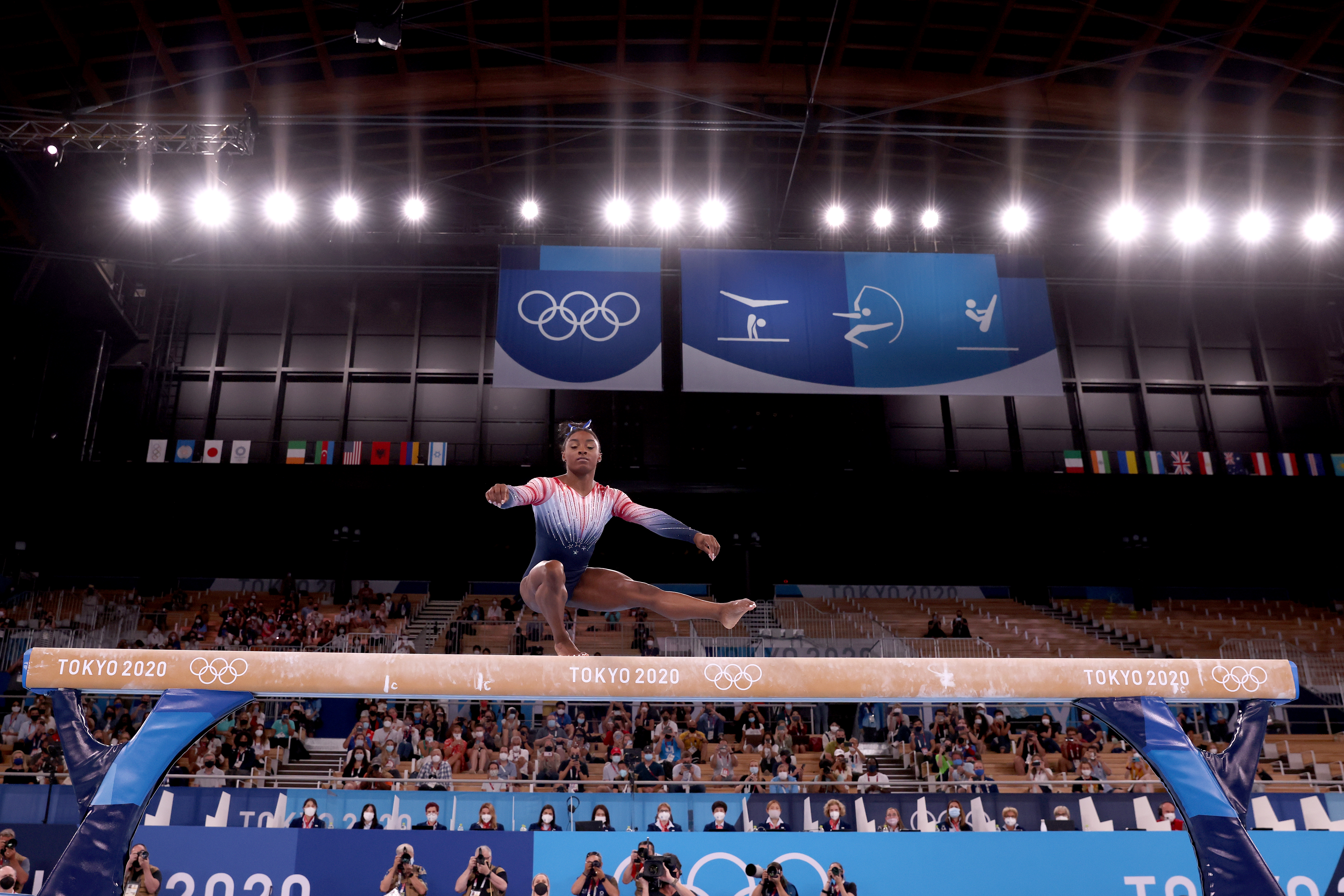 Simone Biles of Team United States competes in the Women's Balance Beam Final on day eleven of the Tokyo 2020 Olympic Games at Ariake Gymnastics Centre on August 03, 2021 in Tokyo, Japan.