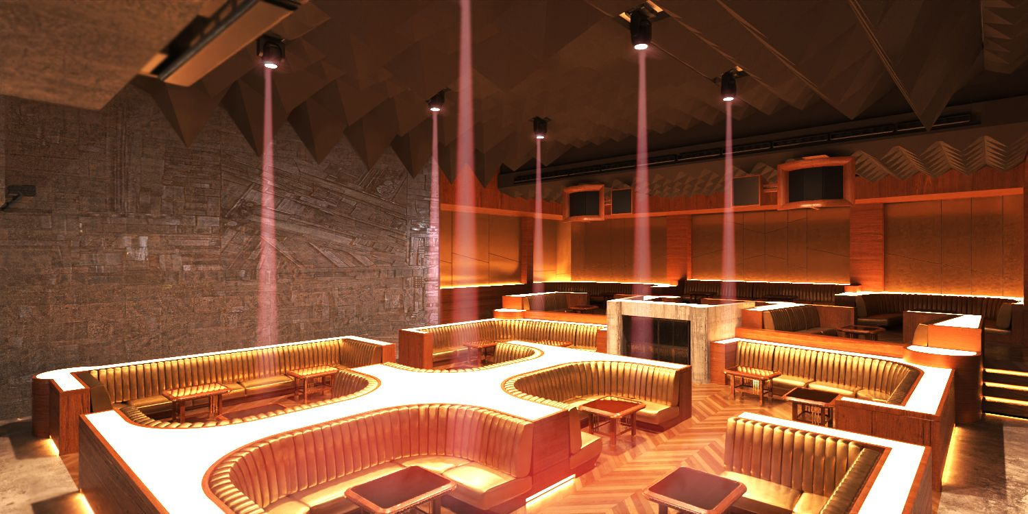 A nightclub space with gold furnishings