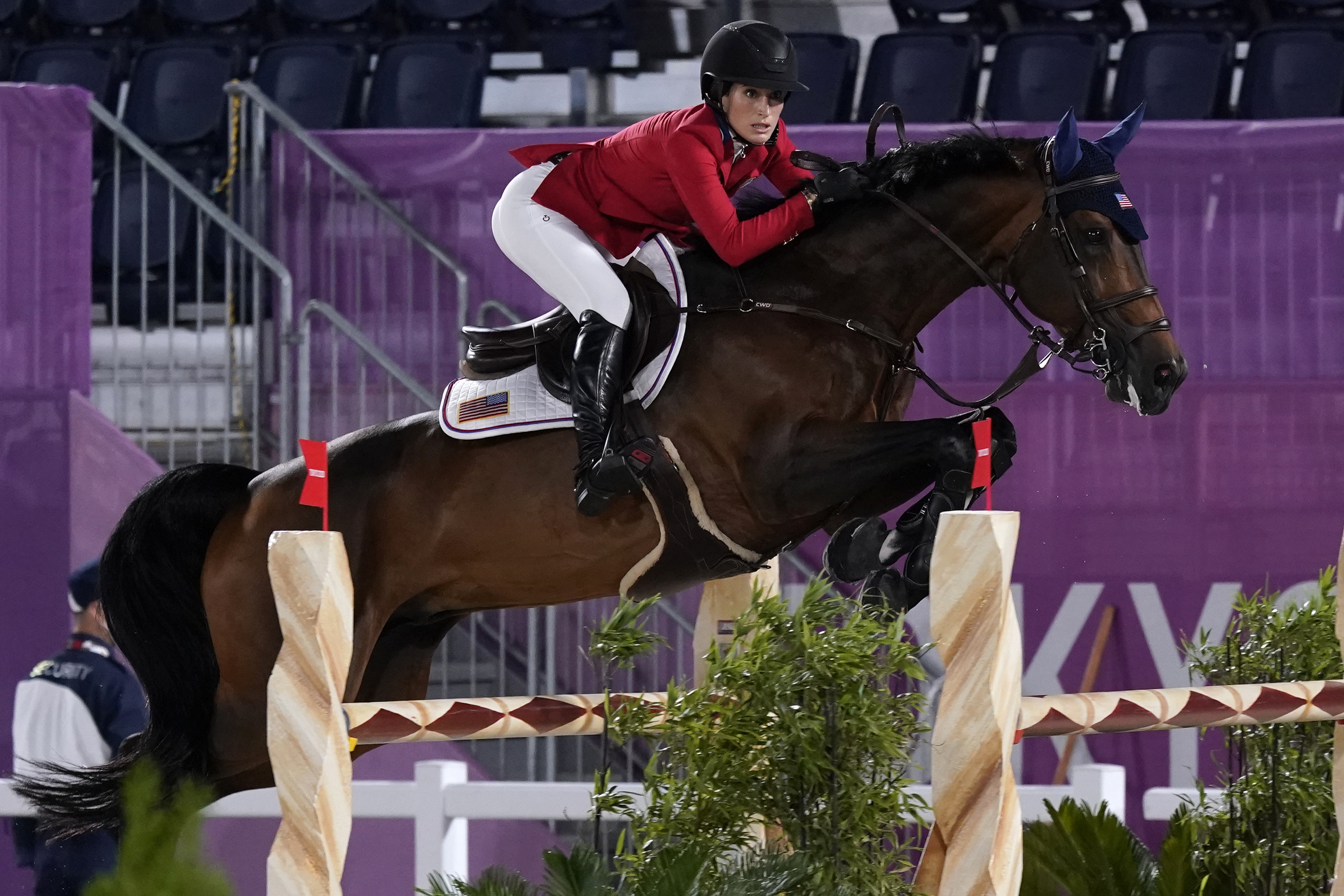 United States' Jessica Springsteen, riding Don Juan van de Donkhoeve, competes during the equestrian jumping individual qualifying at the Tokyo Olympics.
