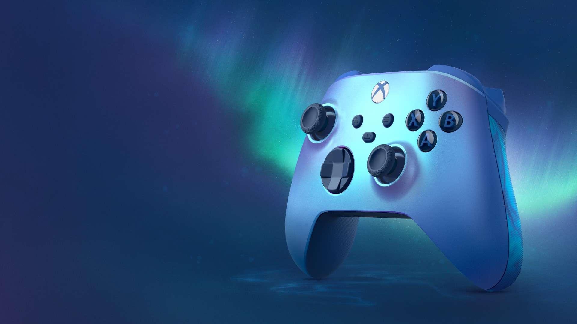 product shot of the Aqua Shift Xbox Wireless Controller
