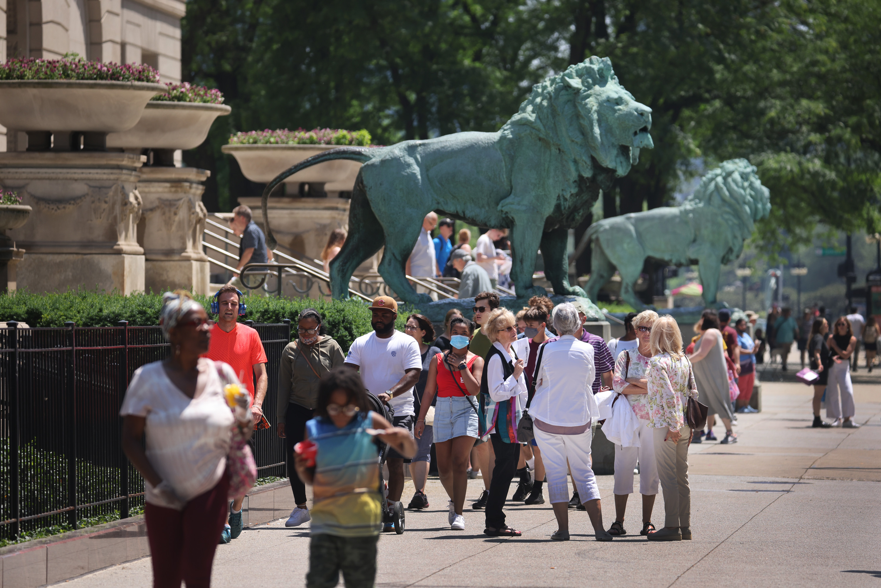 People congregate outside the Art Institute of Chicago in June.