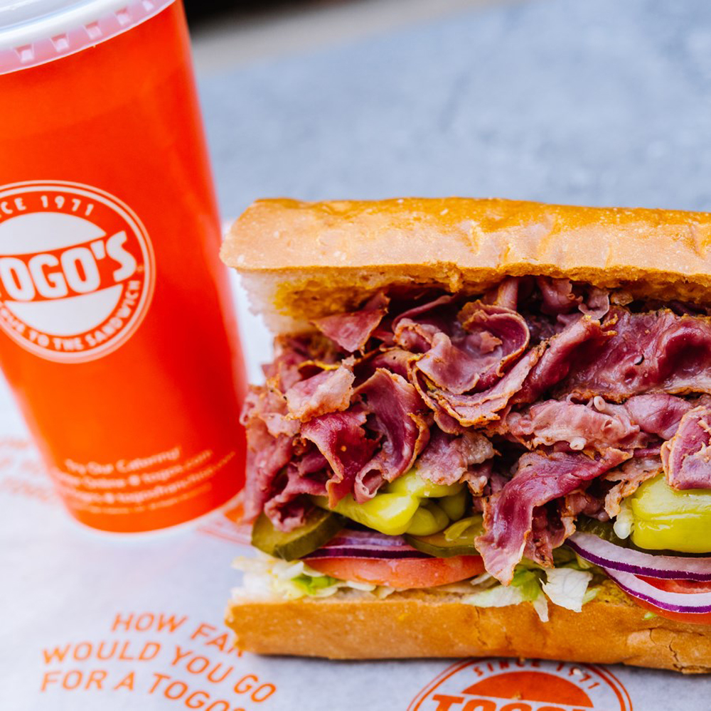 A pastrami sandwich on the future menu from Togo's Sandwiches.