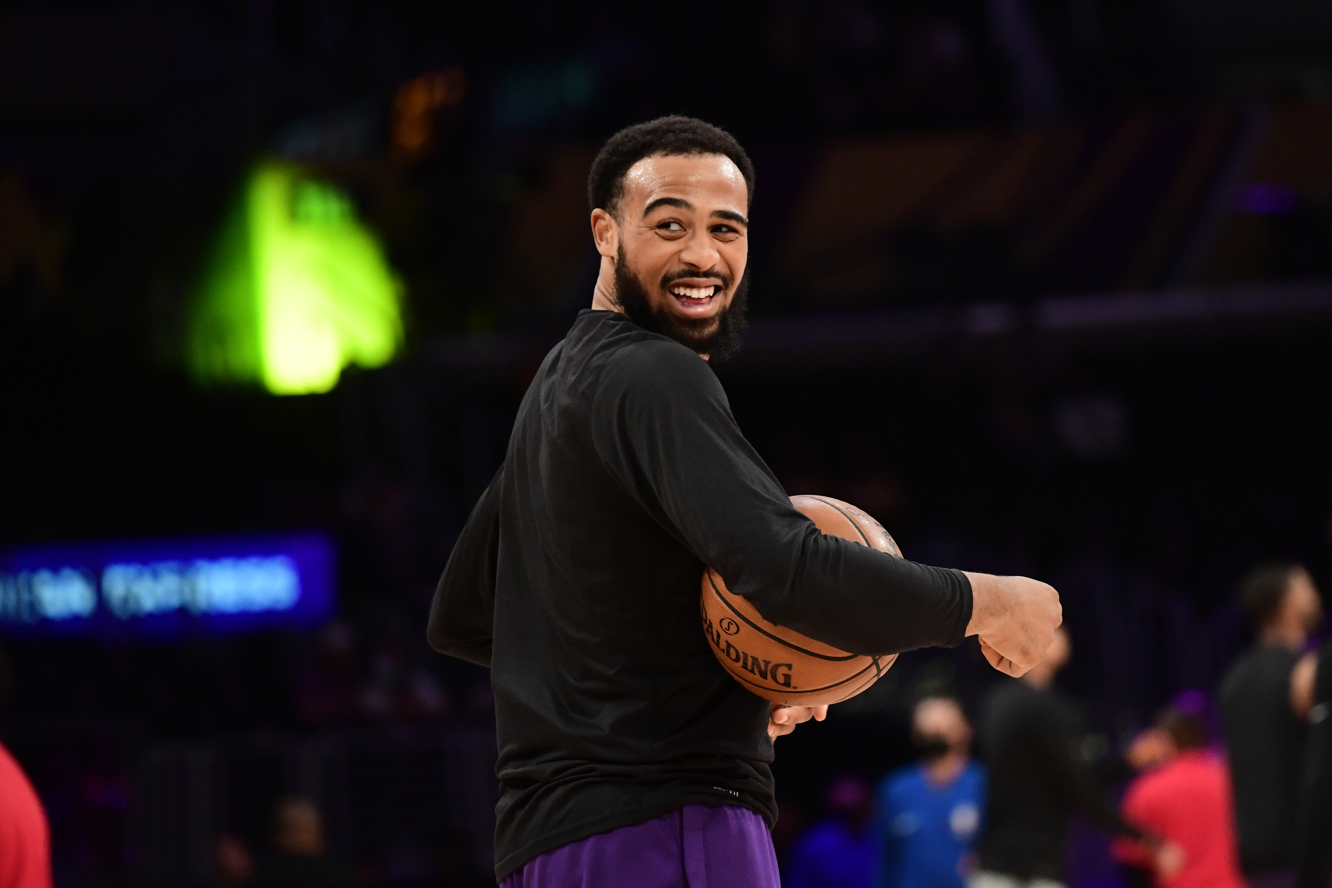 Talen Horton-Tucker of the Los Angeles Lakers smiles before the game against the Phoenix Suns during Round 1, Game 6 of the 2021 NBA Playoffs on June 3, 2021 at STAPLES Center in Los Angeles, California.