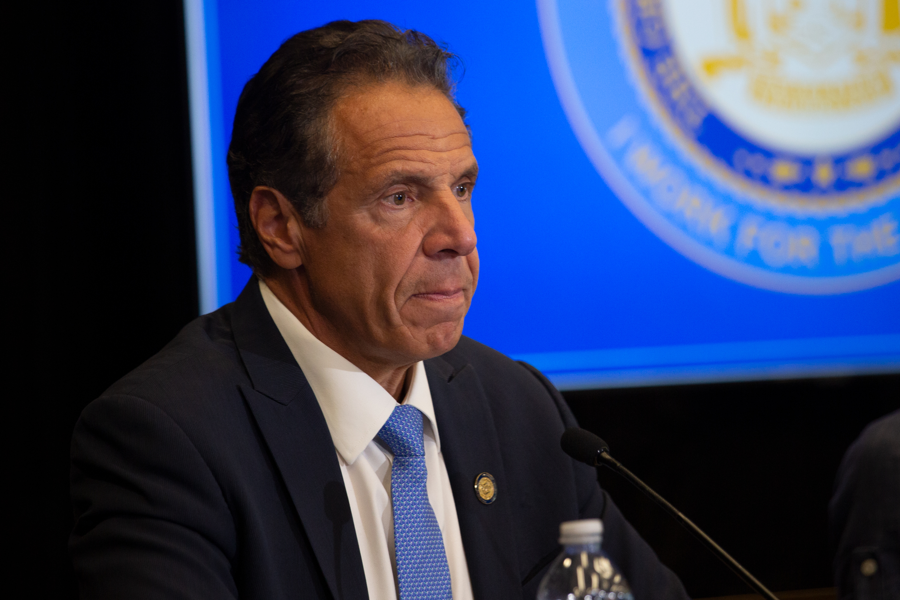 Gov. Andrew Cuomo speaks about increasing vaccination rates during a press conference at Yankee Stadium on Monday, July 26, 2021.