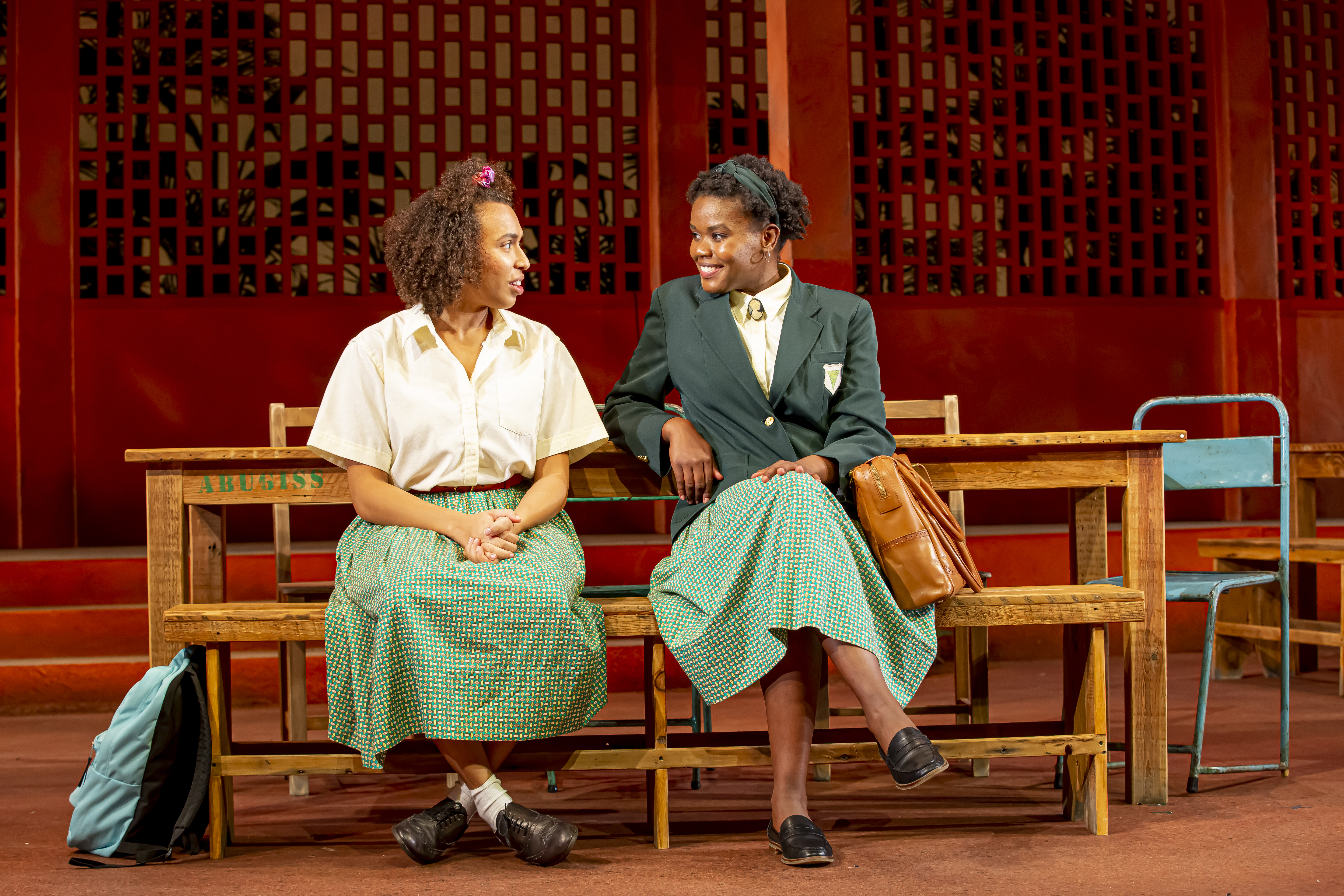 Kyrie Courter(Ericka Boafo) andCiera Dawn(Paulina Sarpong) inSchool Girls; Or, The African Mean Girls PlaybyJocelyn Bioh, directed byLili-Anne Brownat Goodman Theatre (July 30-August 29, 2021). Photo by Flint Chaney.
