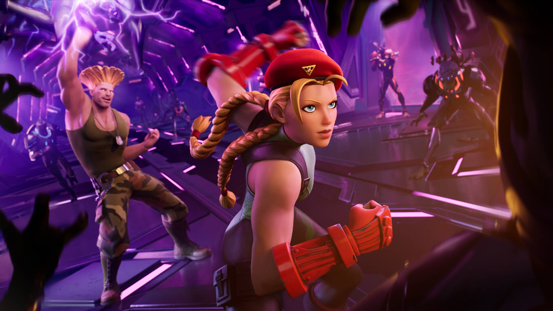 Cammy and Guile from Street Fighter teaming up in a Fortnite loading screen